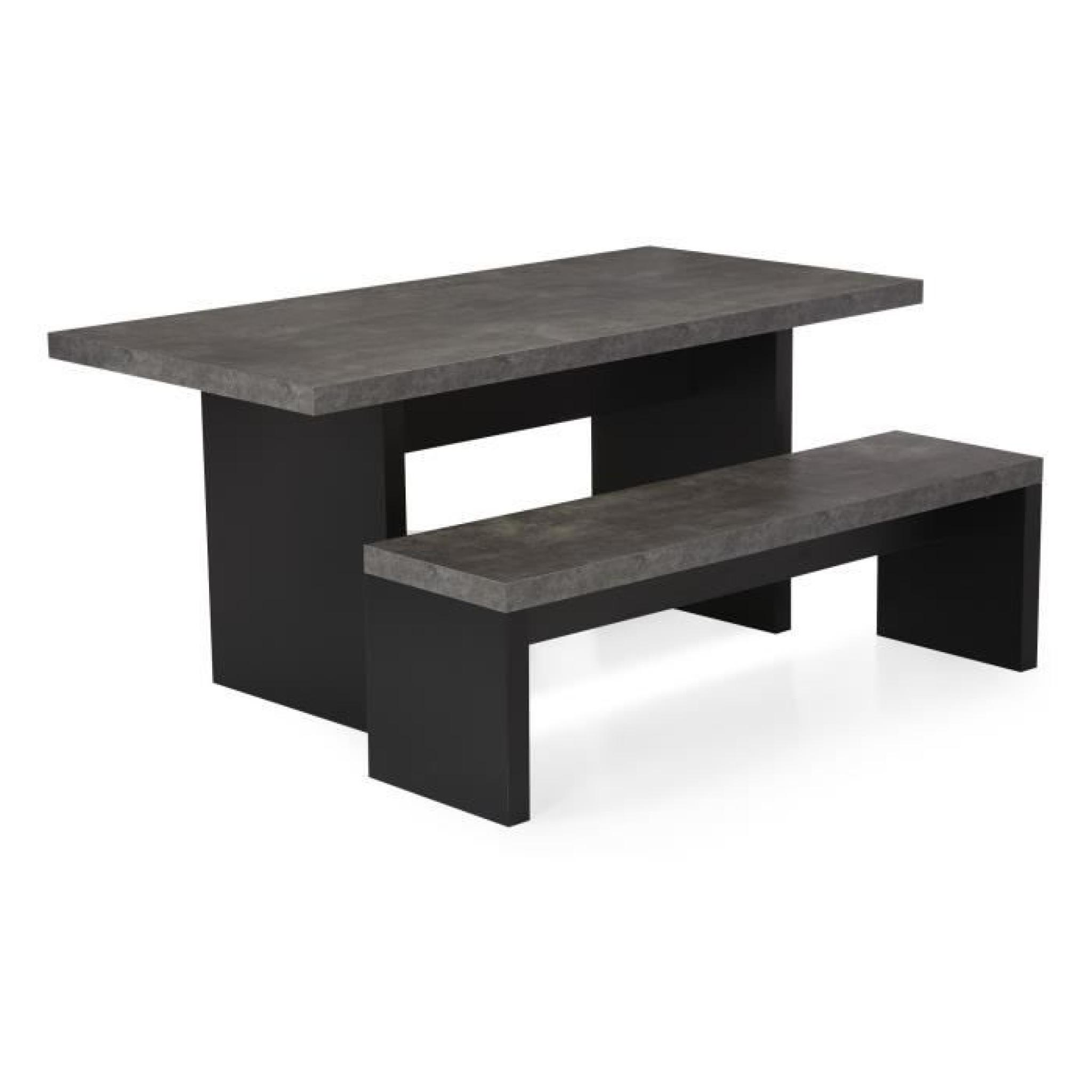 hilo table de repas rectangulaire imitation b ton brut l160cm achat vente table salle a manger. Black Bedroom Furniture Sets. Home Design Ideas