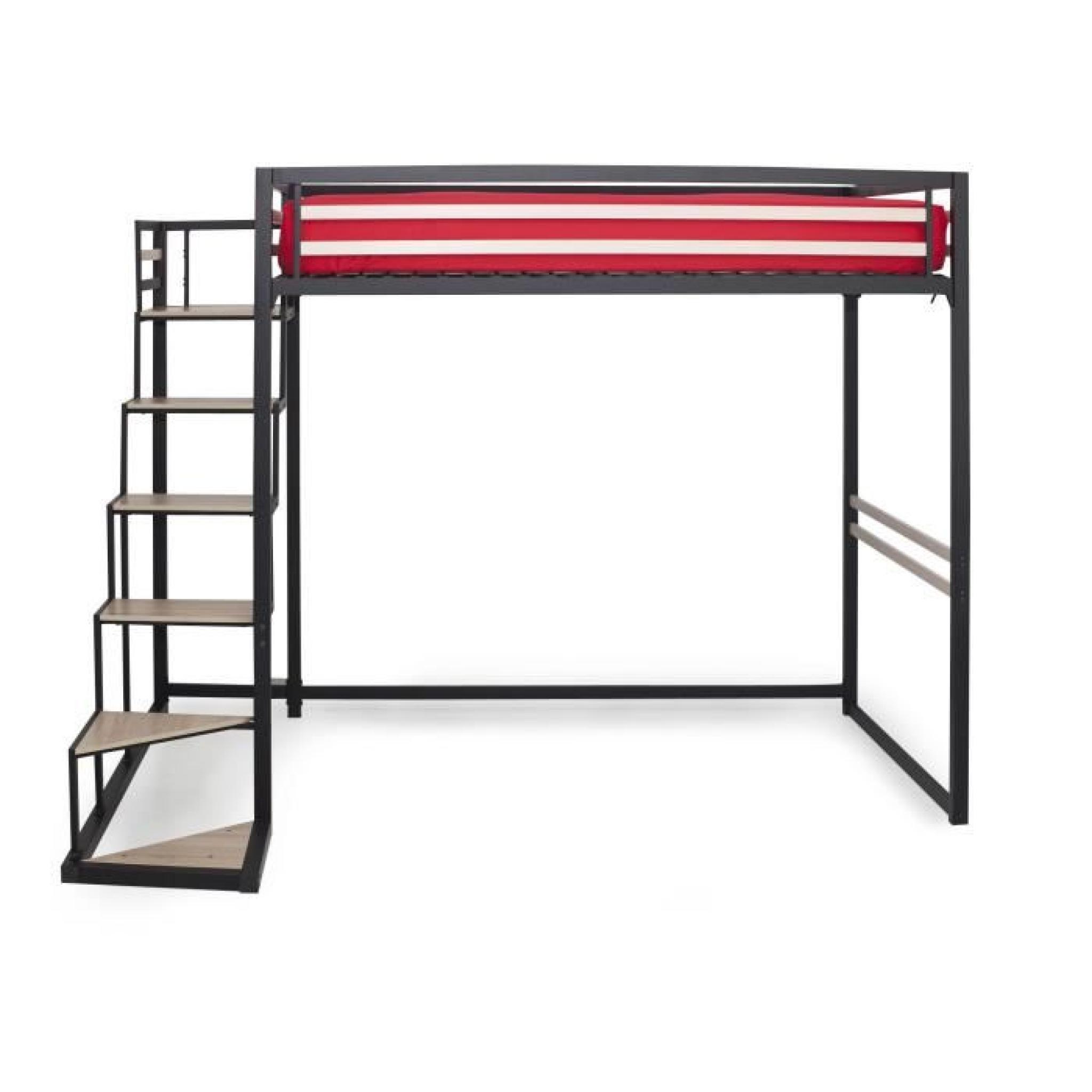 home mezzanine 140x200 achat vente lit mezzanine pas cher couleur et. Black Bedroom Furniture Sets. Home Design Ideas