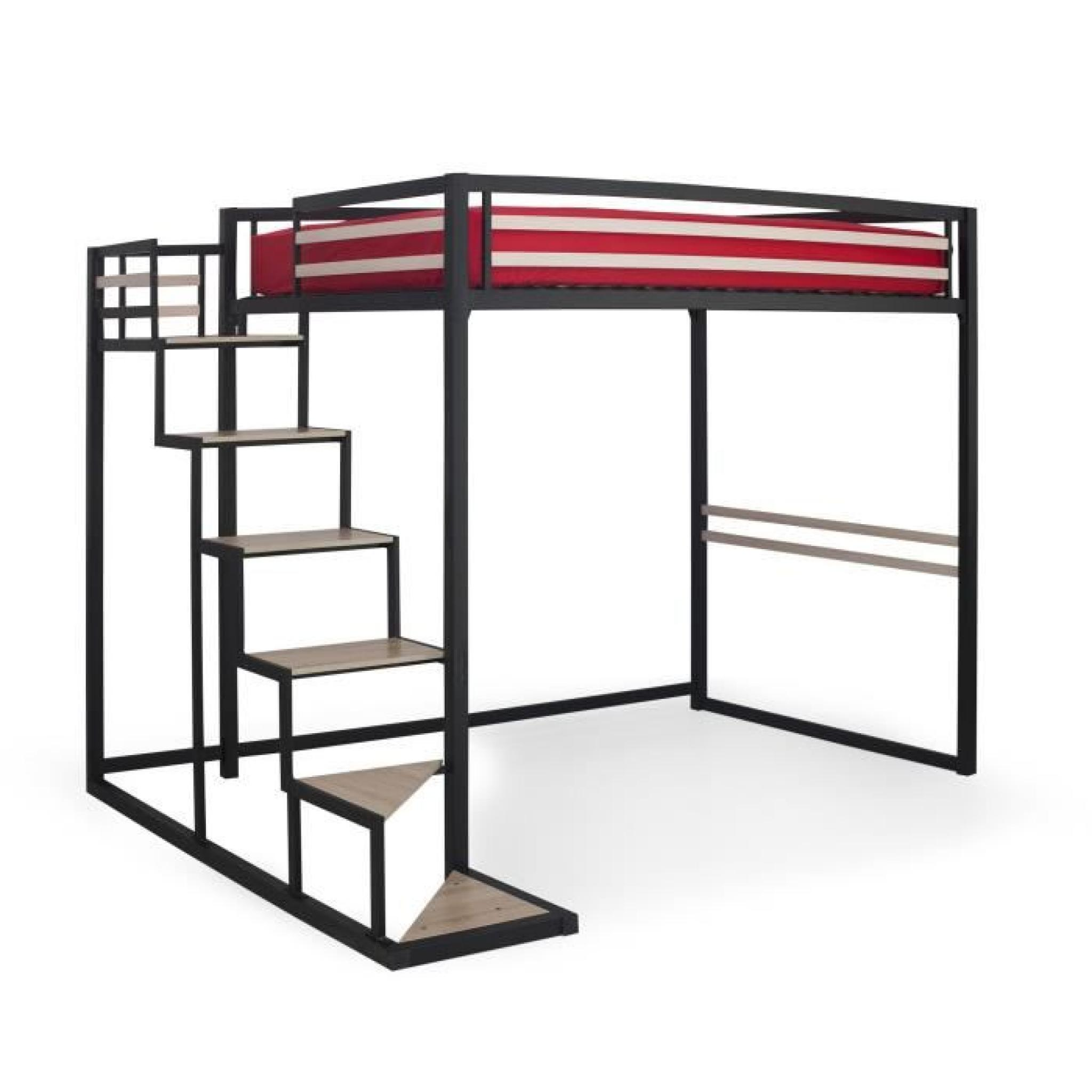 Home mezzanine 140x200 achat vente lit mezzanine pas for Bureau 3 places