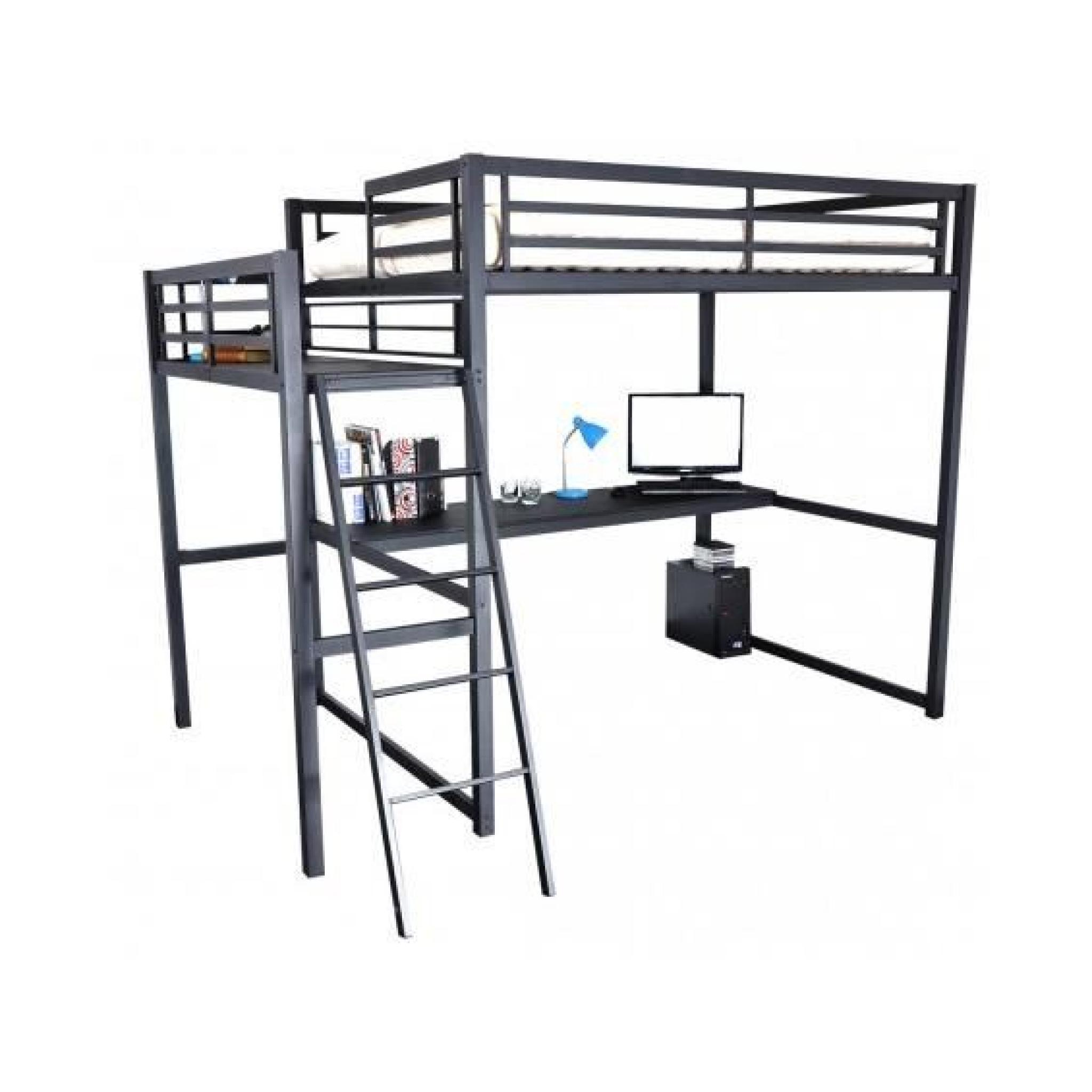 House lit mezzanine 140x190cm avec plateforme achat vente lit mezzanine p - Mezzanine 1 place pas cher ...