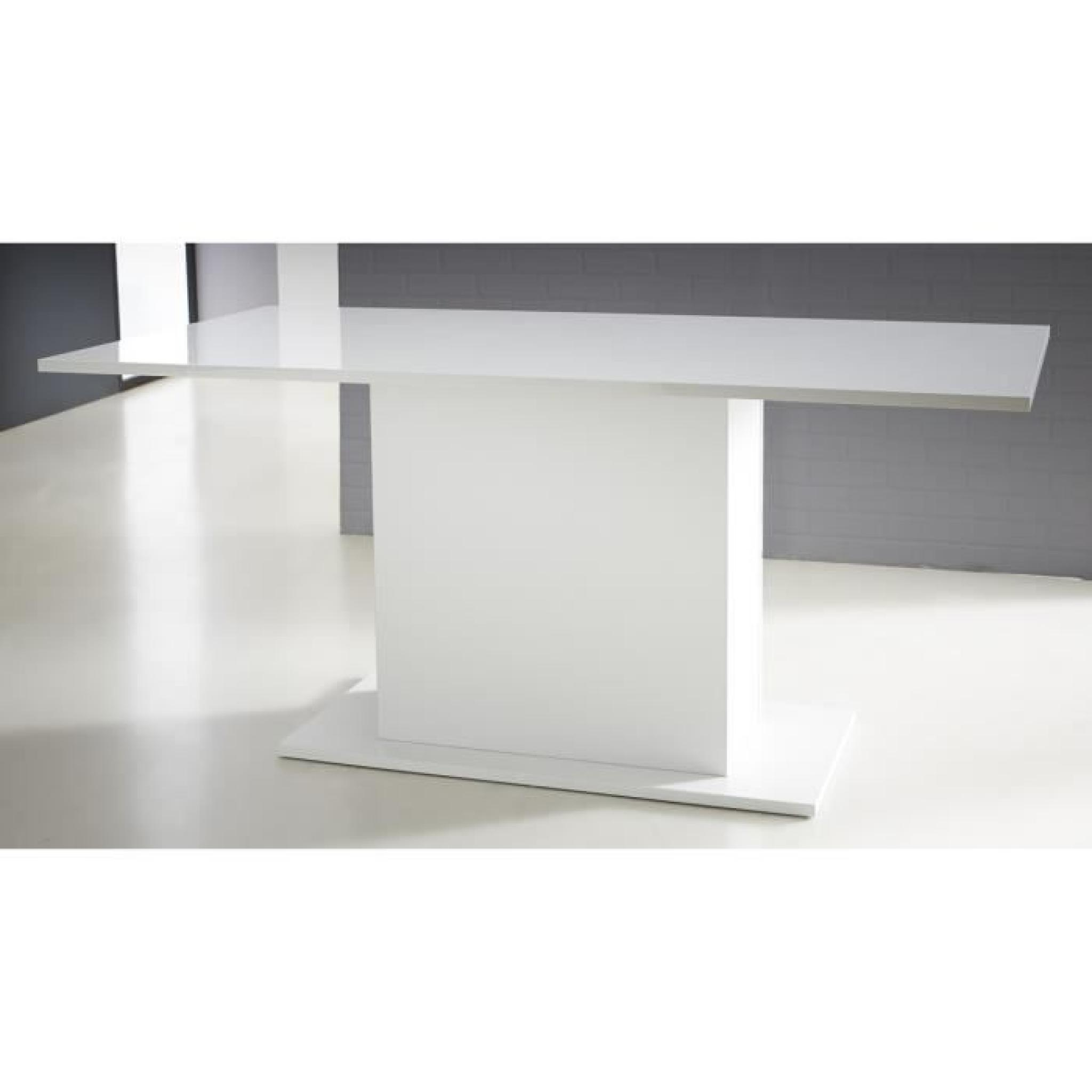 Icy Table A Manger Avec Pied Central 170cm Blanc Brillant Achat