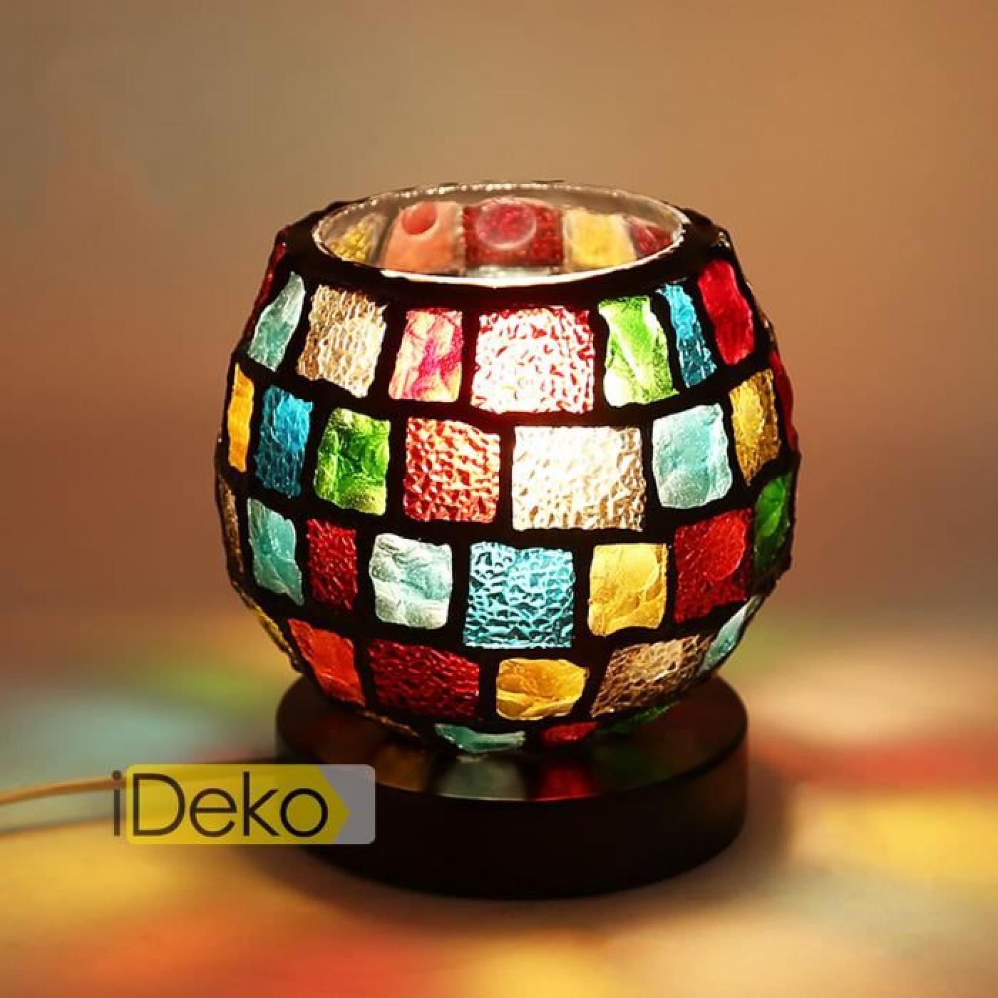 Poser À Coloré Manuel Verre Ideko® Art Lampe Bureau Design Style Vitrail Table Antique 35Aj4LR