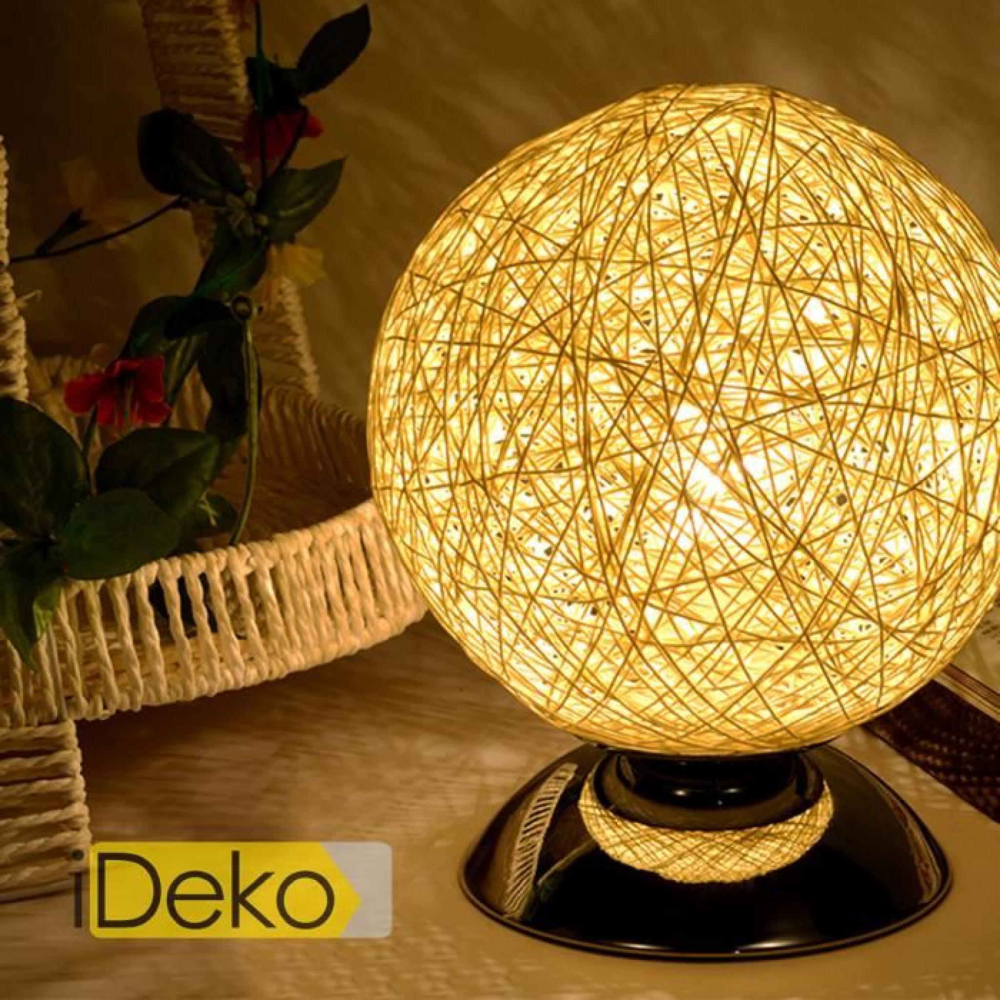 Ideko® Nordique Bureau Lampe Bois Art Unique À Table En Chevet Suspension Poser Design N80wmvn