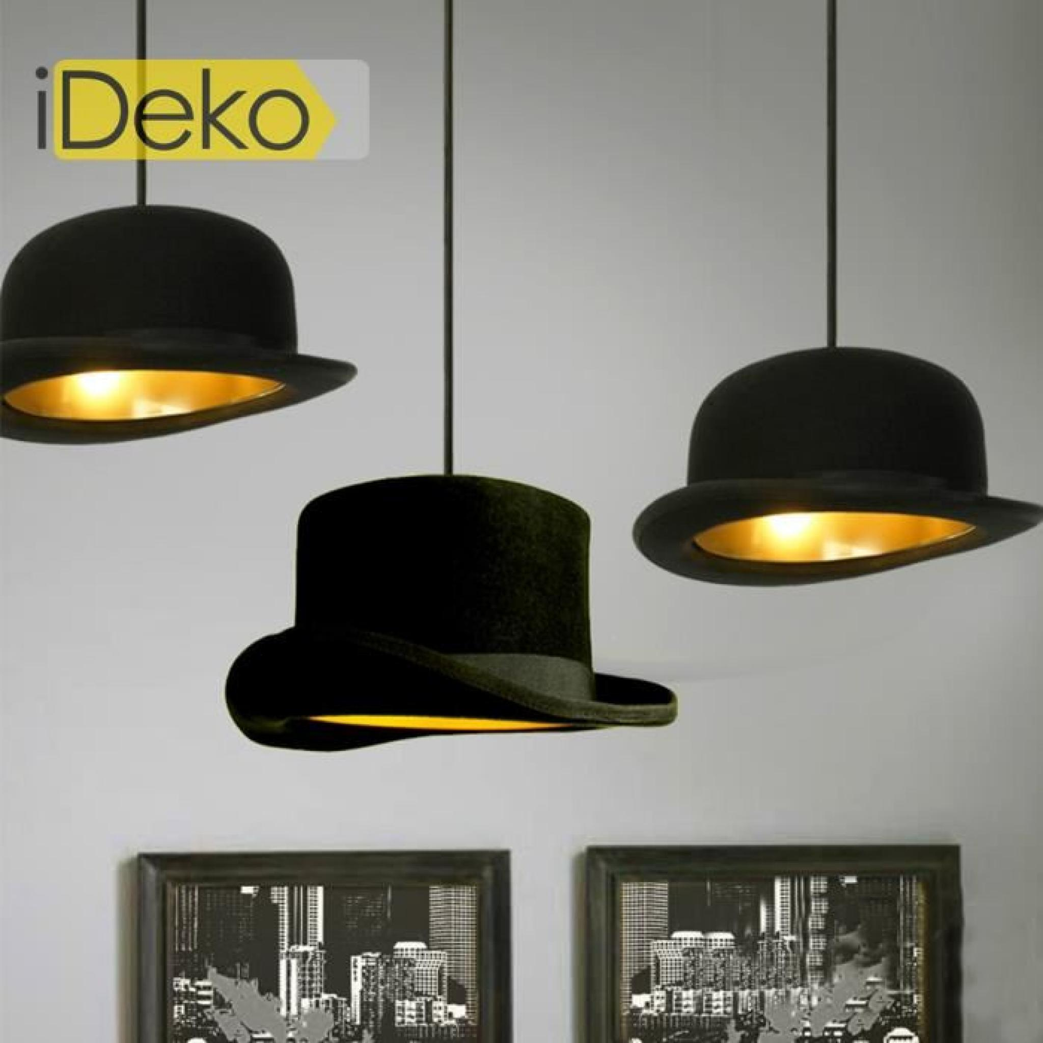 Ideko lampe de salon chamber art design unique chapeau - Suspension salon pas cher ...