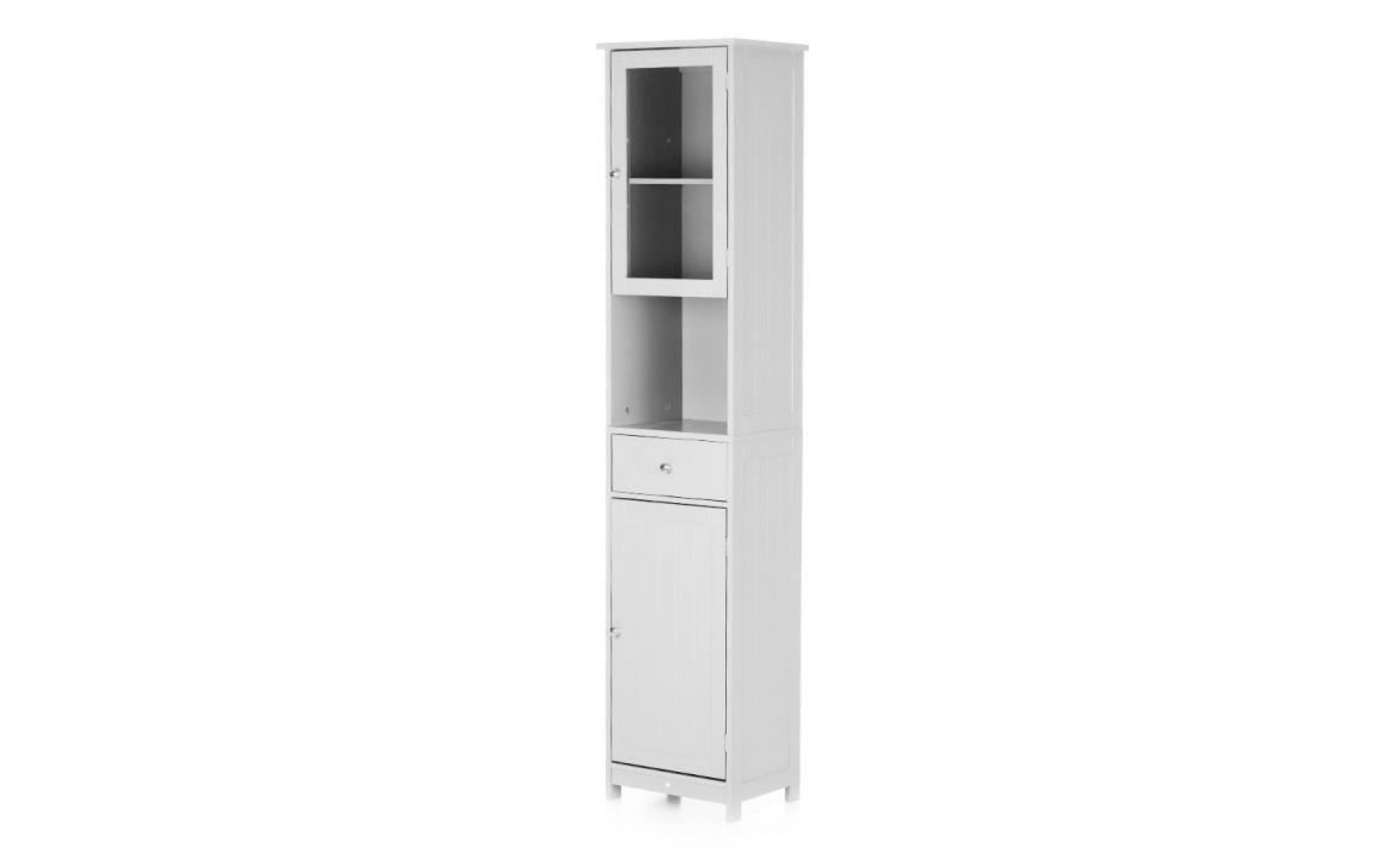 ikayaa armoire de rangement avec tiroir porte miroir cabinet haut ...
