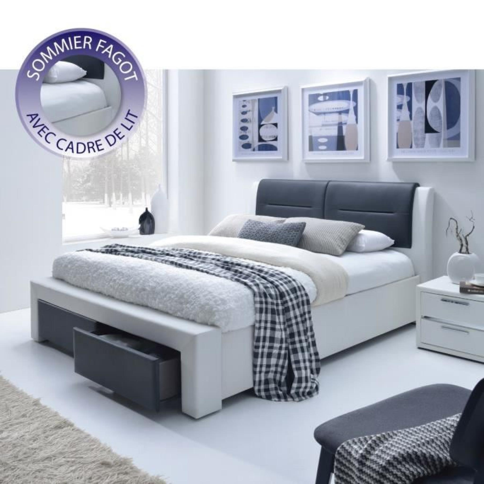 imagina lit adulte en simili 160x200cm sommier inclus noir et blanc achat vente lit pas. Black Bedroom Furniture Sets. Home Design Ideas