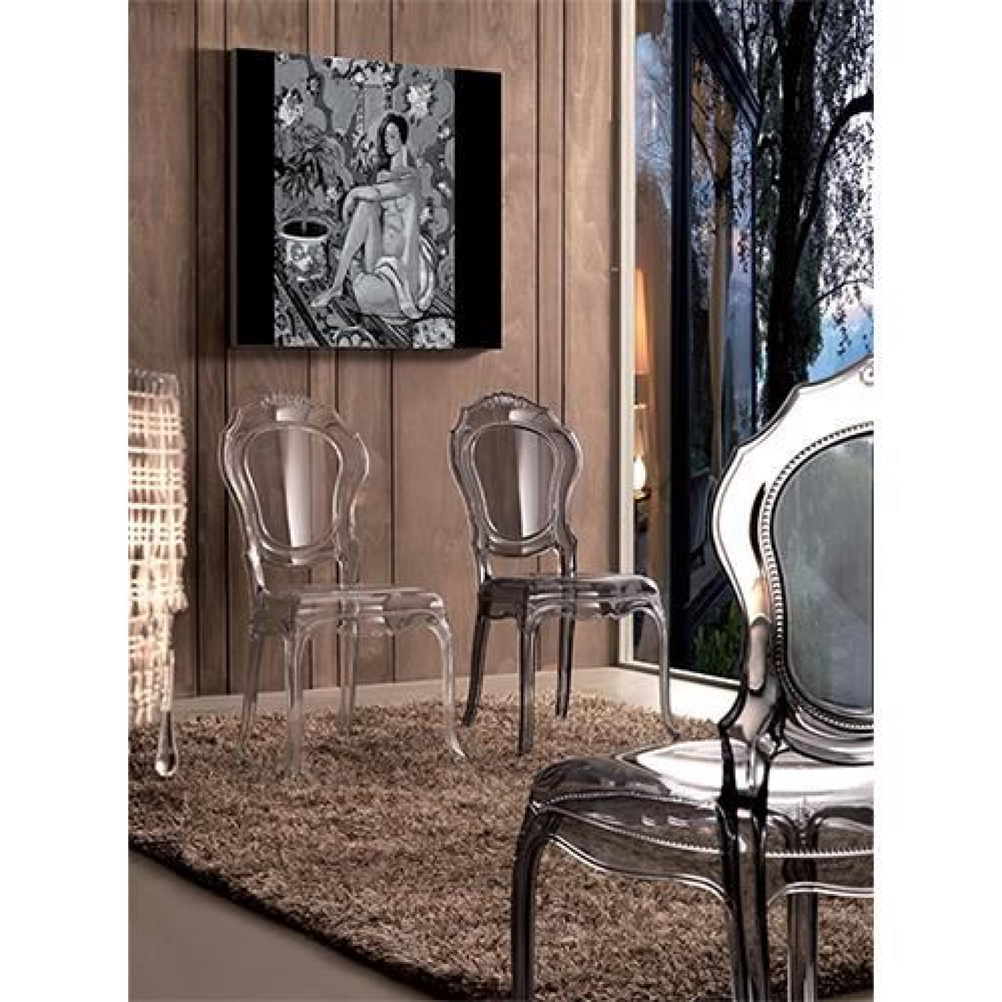irina chaise baroque en polycarbonate transparent fum achat vente chaise salle a manger pas. Black Bedroom Furniture Sets. Home Design Ideas