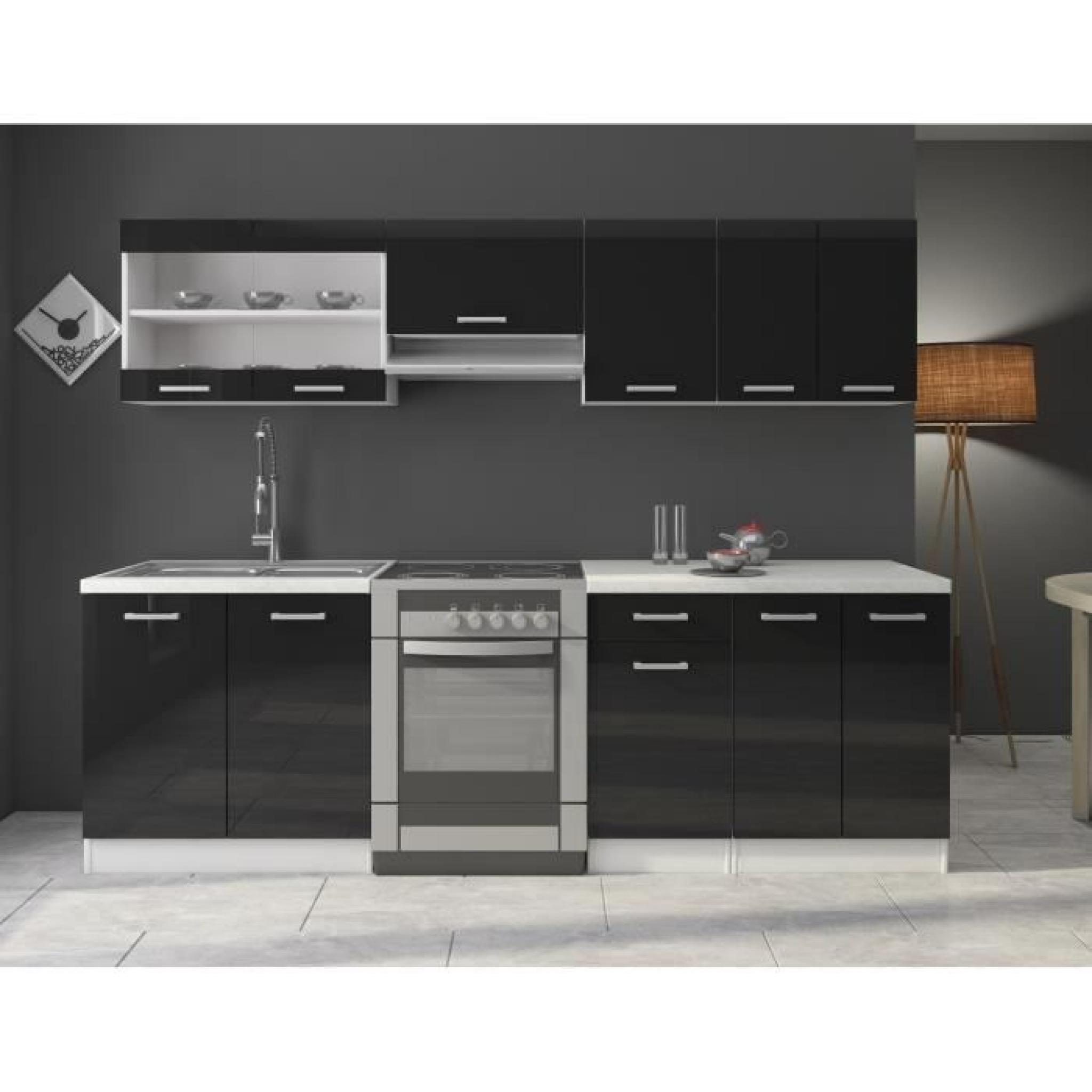jasny cuisine compl te 2m40 noir laqu achat vente. Black Bedroom Furniture Sets. Home Design Ideas