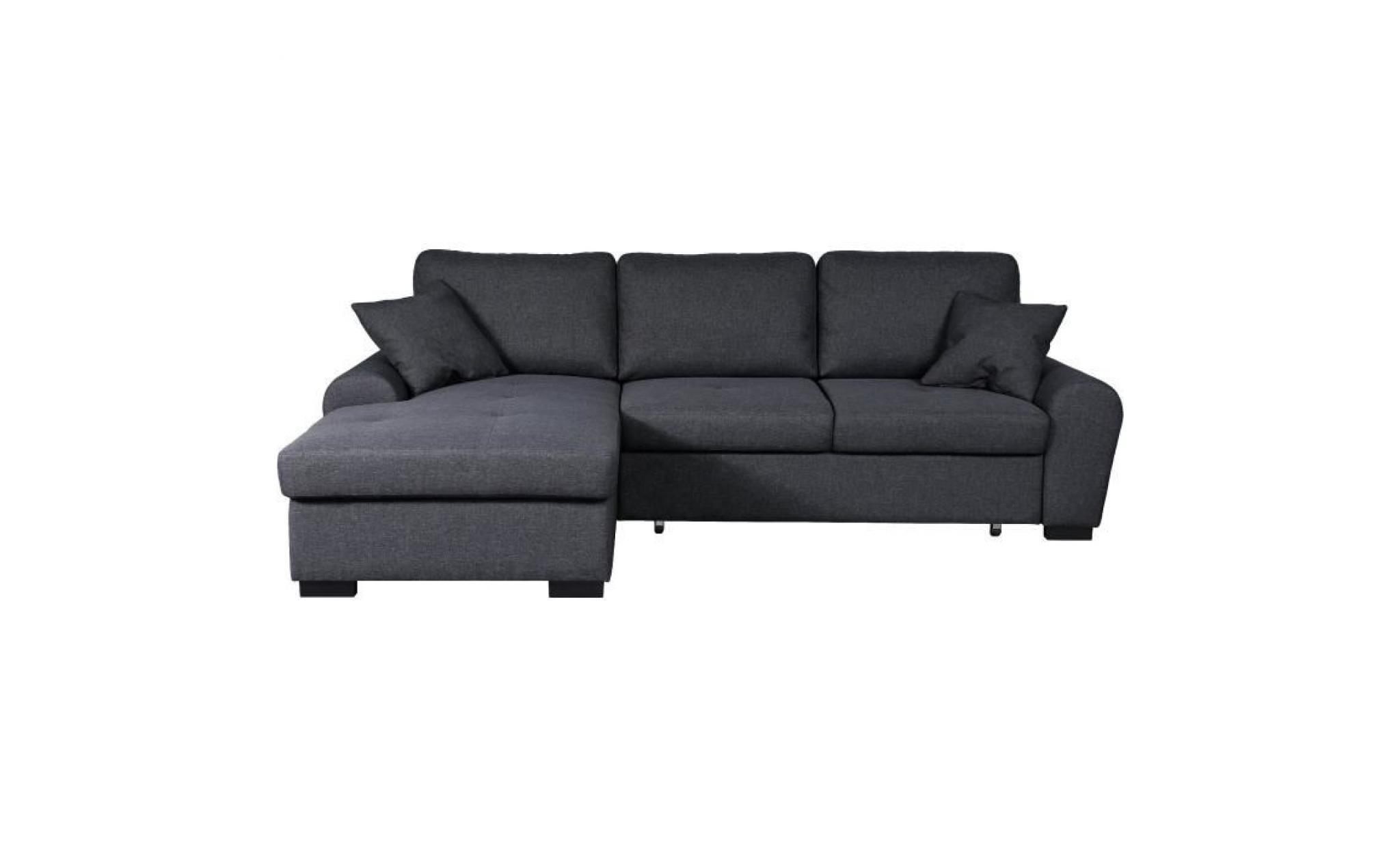 la meilleure attitude b31f9 32a87 jena canapé d'angle gauche convertible 5 places tissu gris foncé  contemporain l 248 x p 173 cm