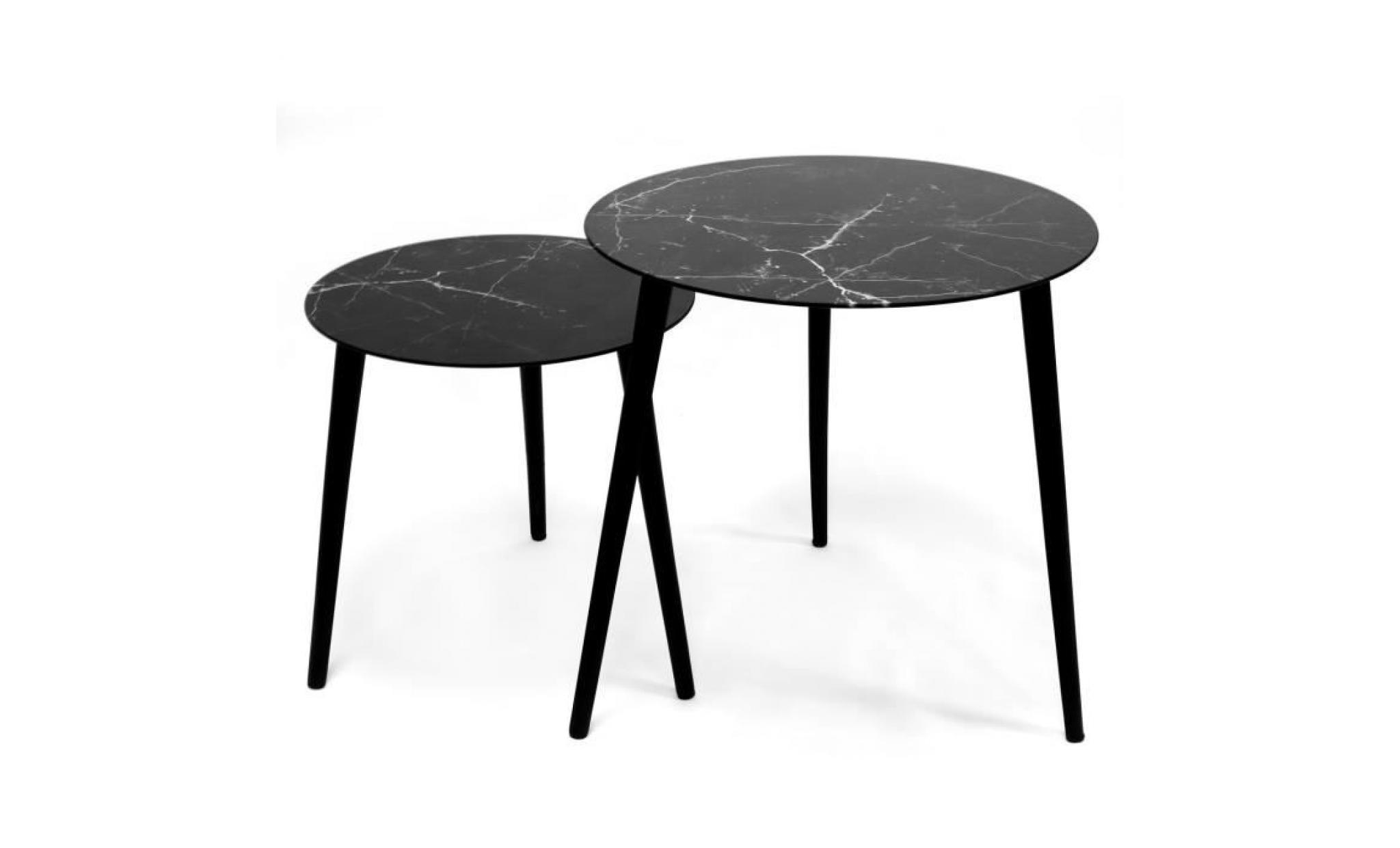 meilleur service 905dd ed74c jonas lot de 2 tables rondes scandinaves (1 petite + 1 grande) tables  basses en verre trempé effet marbre à 3 pieds (noire)