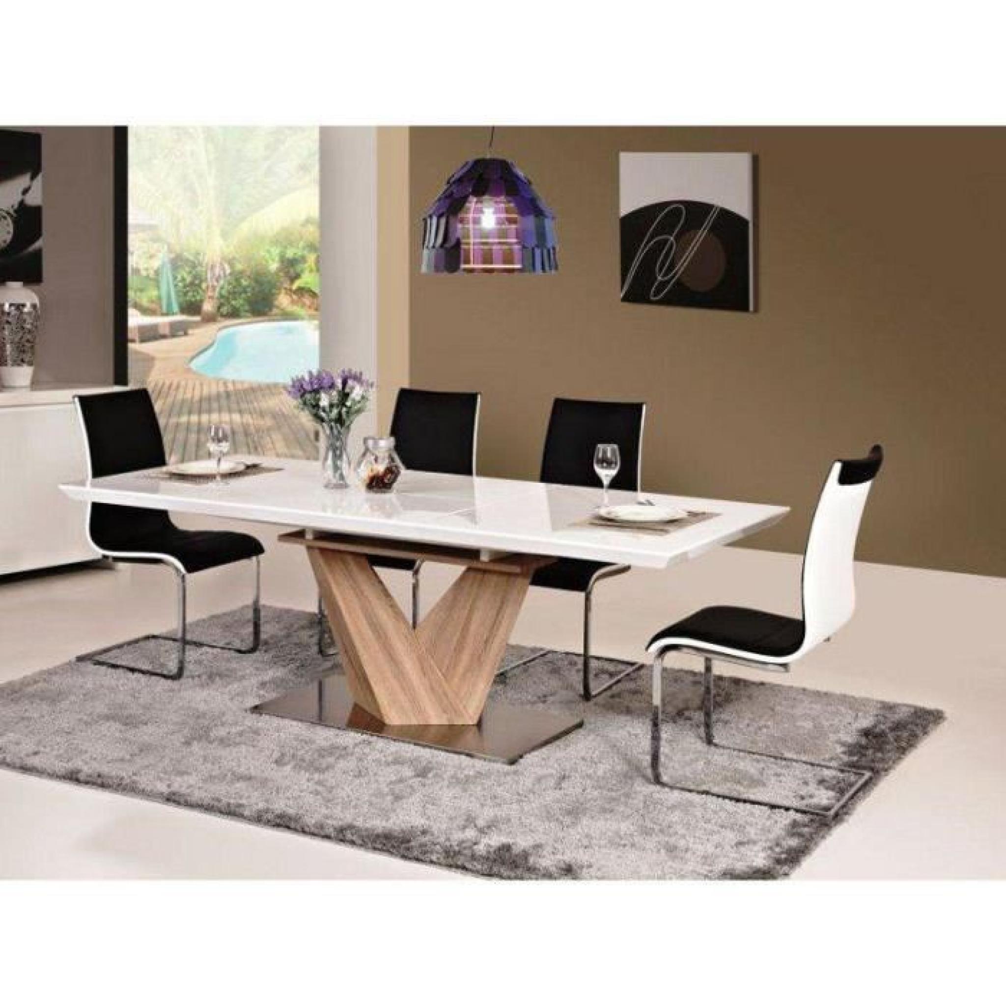 Justhome alaras table à rallonge sonoma chêne / blanc 75 x 90 x ...