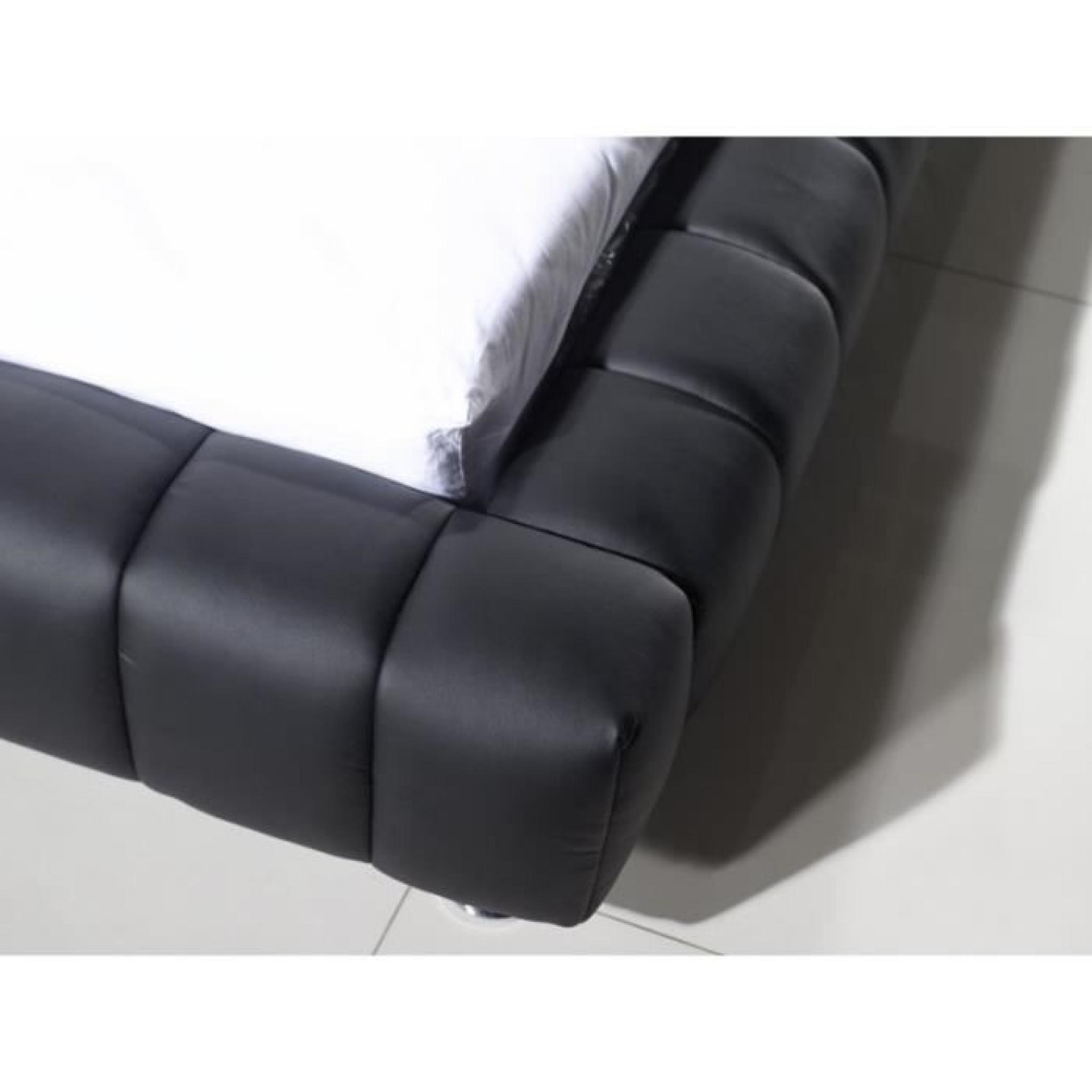 justhome brooklyn noir lit rembourr en cuir cologique taille 160 x 200 cm achat vente lit. Black Bedroom Furniture Sets. Home Design Ideas