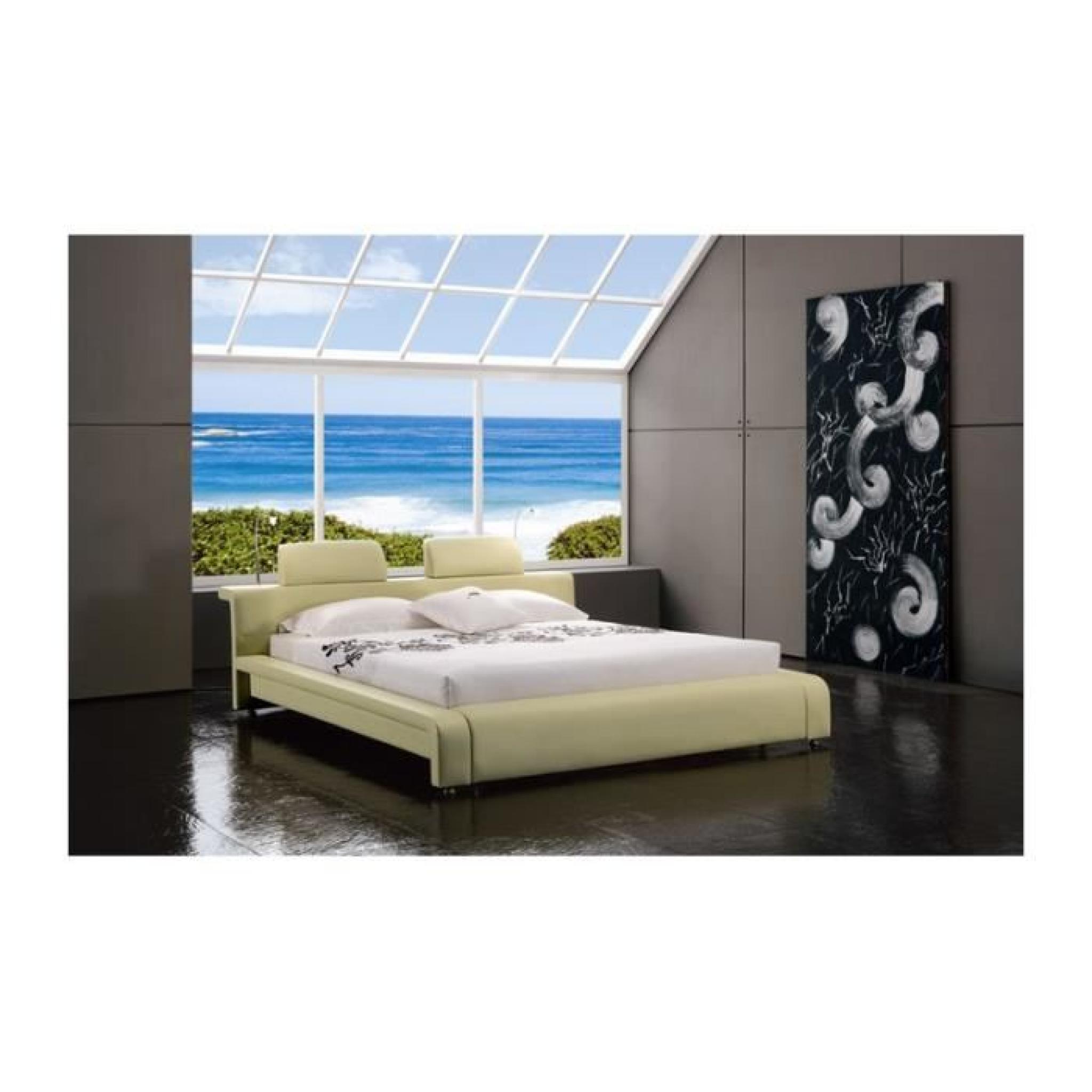 justhome classico beige lit rembourr en cuir cologique taille 200 x 200 cm achat vente lit. Black Bedroom Furniture Sets. Home Design Ideas