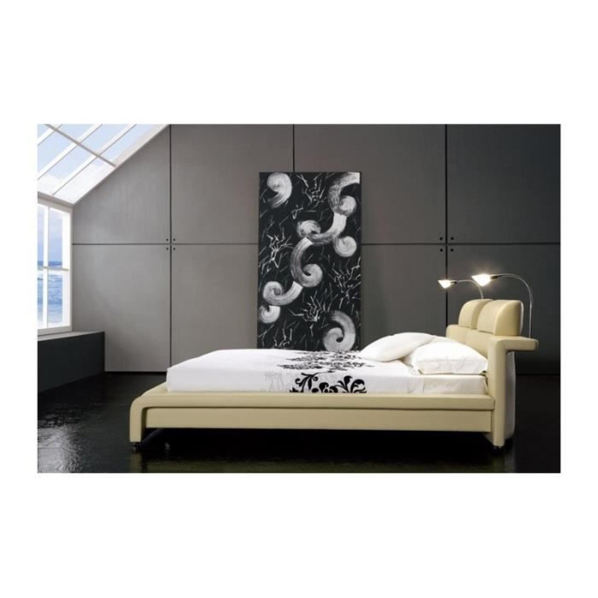 justhome classico beige lit rembourr en cuir cologique taille 140 x 200 cm achat vente lit. Black Bedroom Furniture Sets. Home Design Ideas