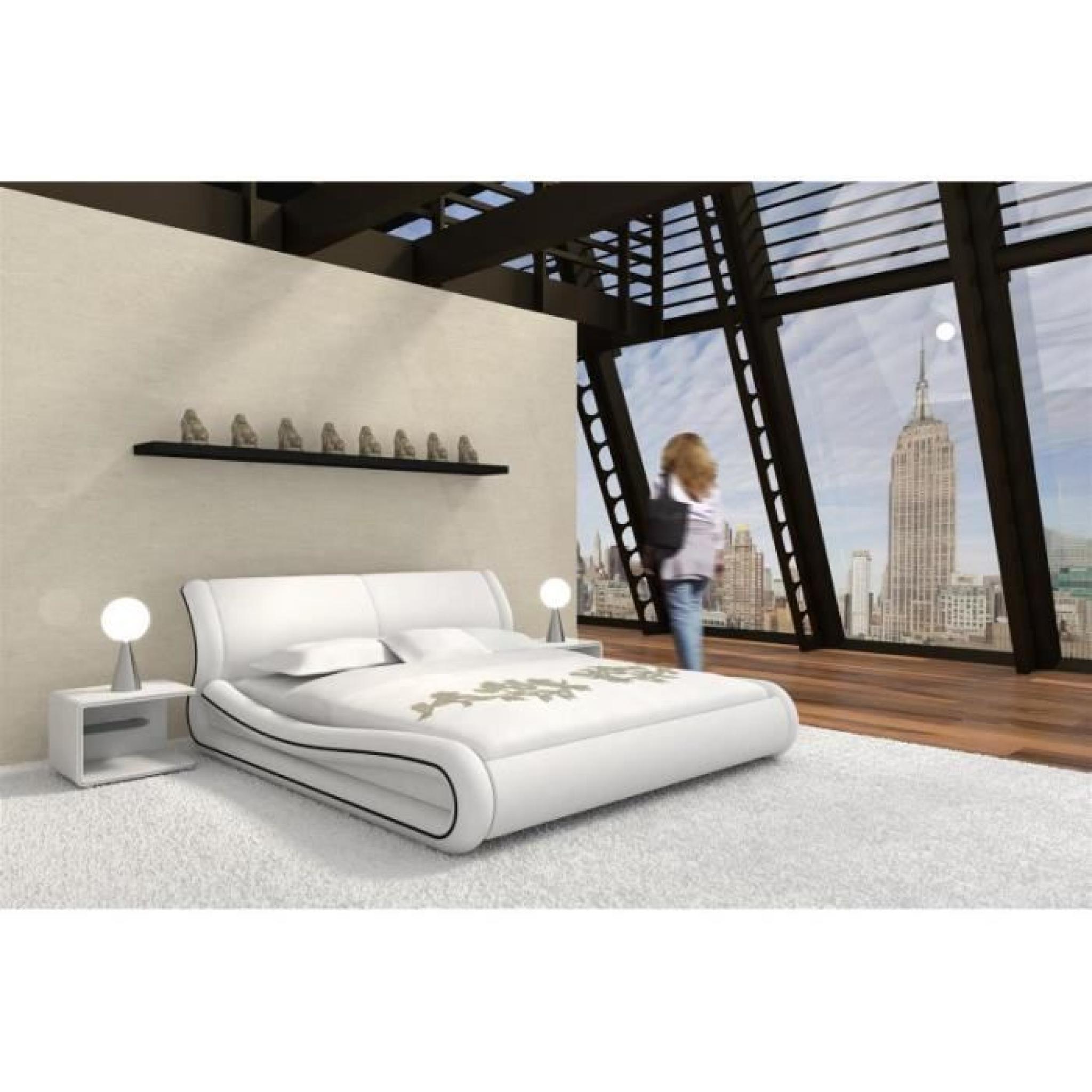 justhome clip blanc lit rembourr en cuir cologique taille 160 x 200 cm achat vente lit pas. Black Bedroom Furniture Sets. Home Design Ideas