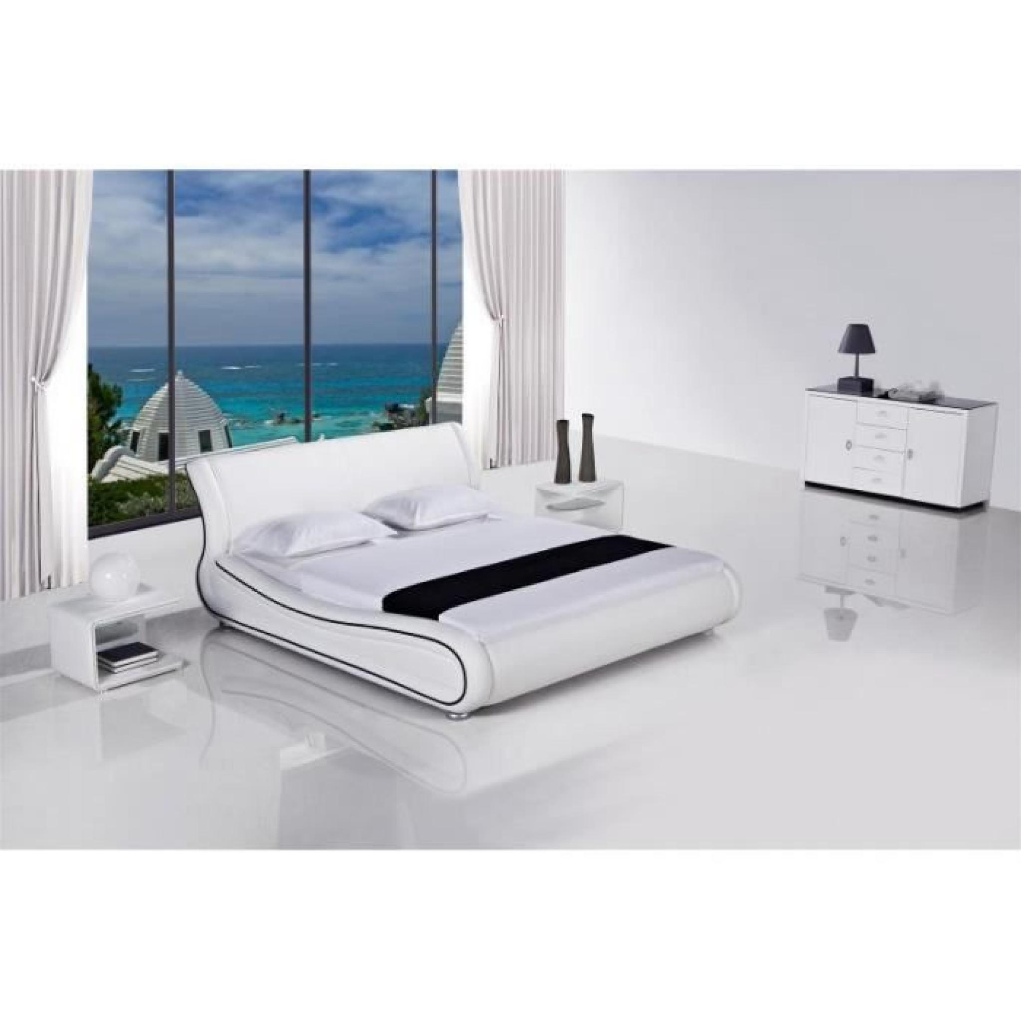 justhome clip blanc lit rembourr en cuir cologique taille 160 x 200 cm achat vente lit pas. Black Bedroom Furniture Sets. Home Design Ideas