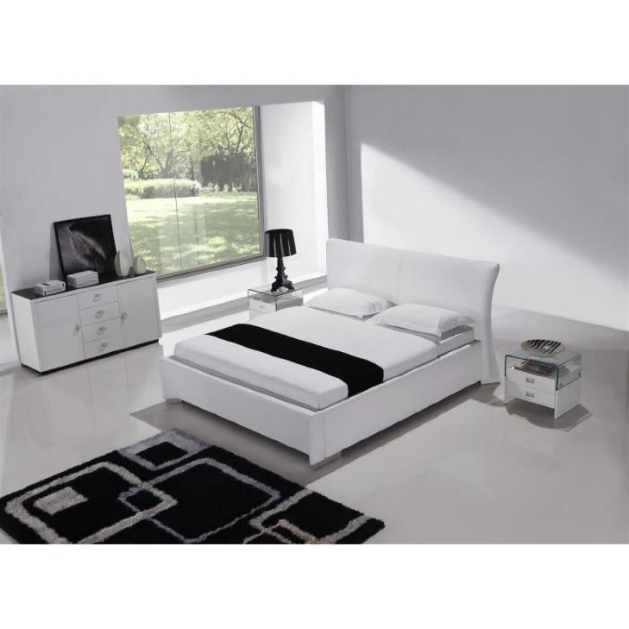justhome dancer blanc lit rembourr en cuir cologique taille 140 x 200 cm achat vente lit. Black Bedroom Furniture Sets. Home Design Ideas