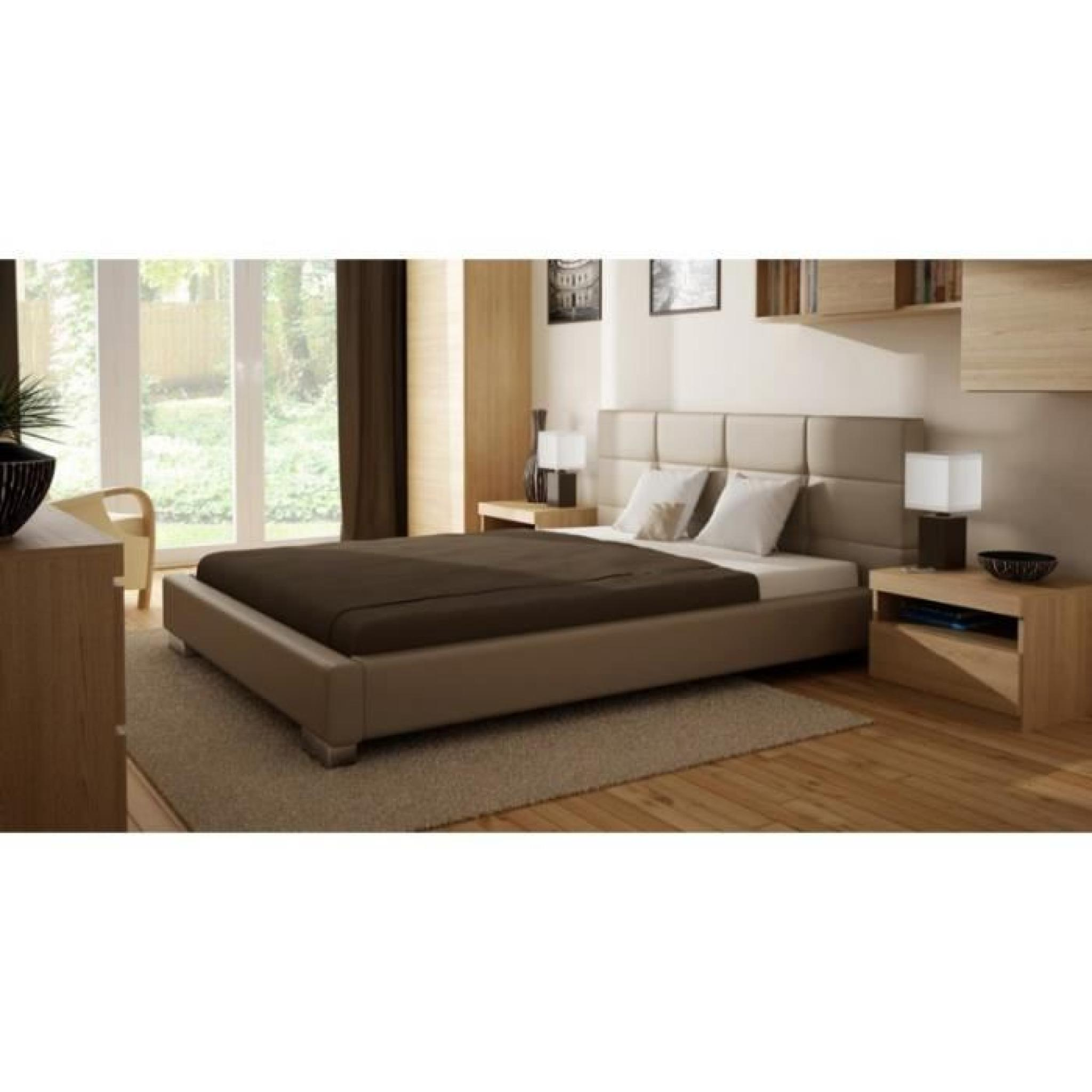 justhome edoardo lit en cuir cologique beige 160 x 200 cm achat vente lit pas cher couleur. Black Bedroom Furniture Sets. Home Design Ideas