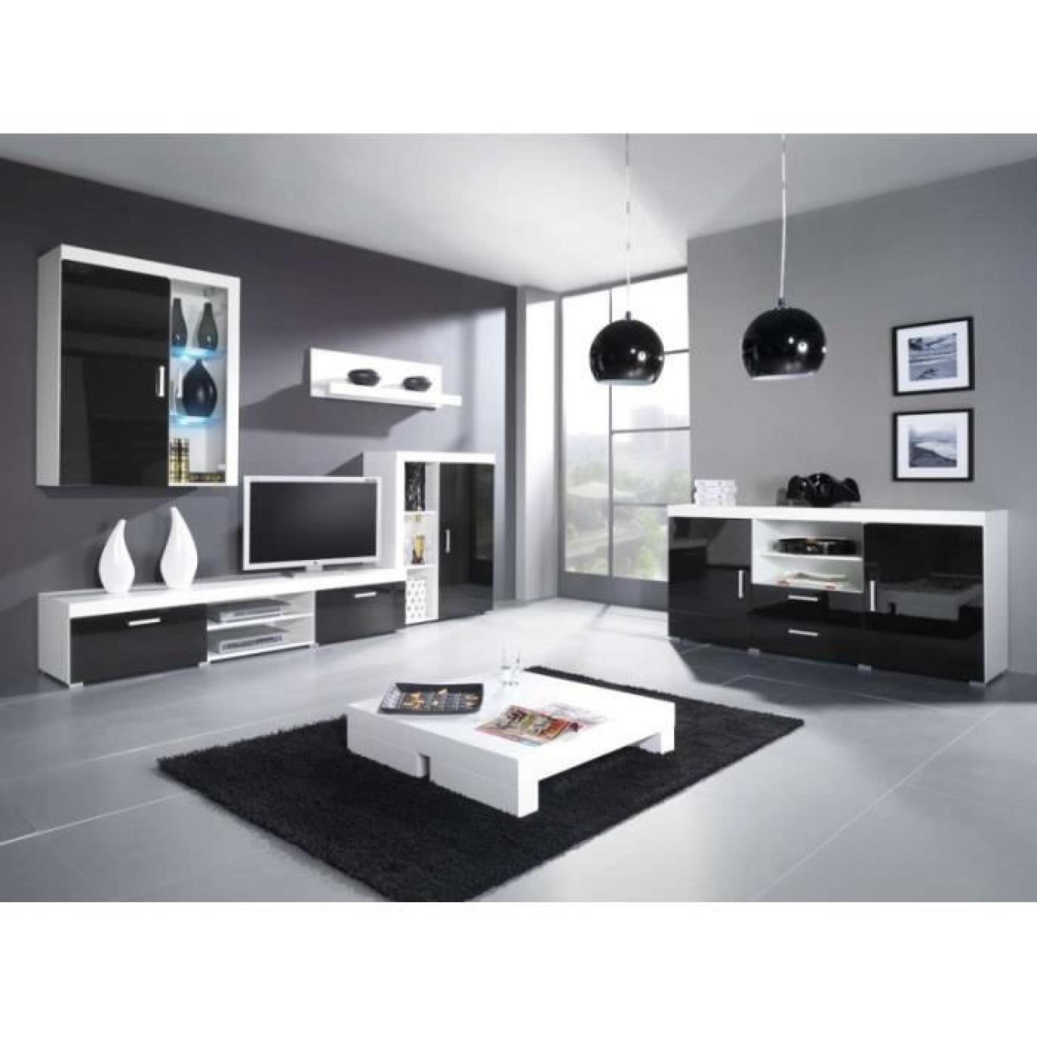 Justhome ensemble samba c unit murale blanc noir for Ensemble salle a manger noir et blanc
