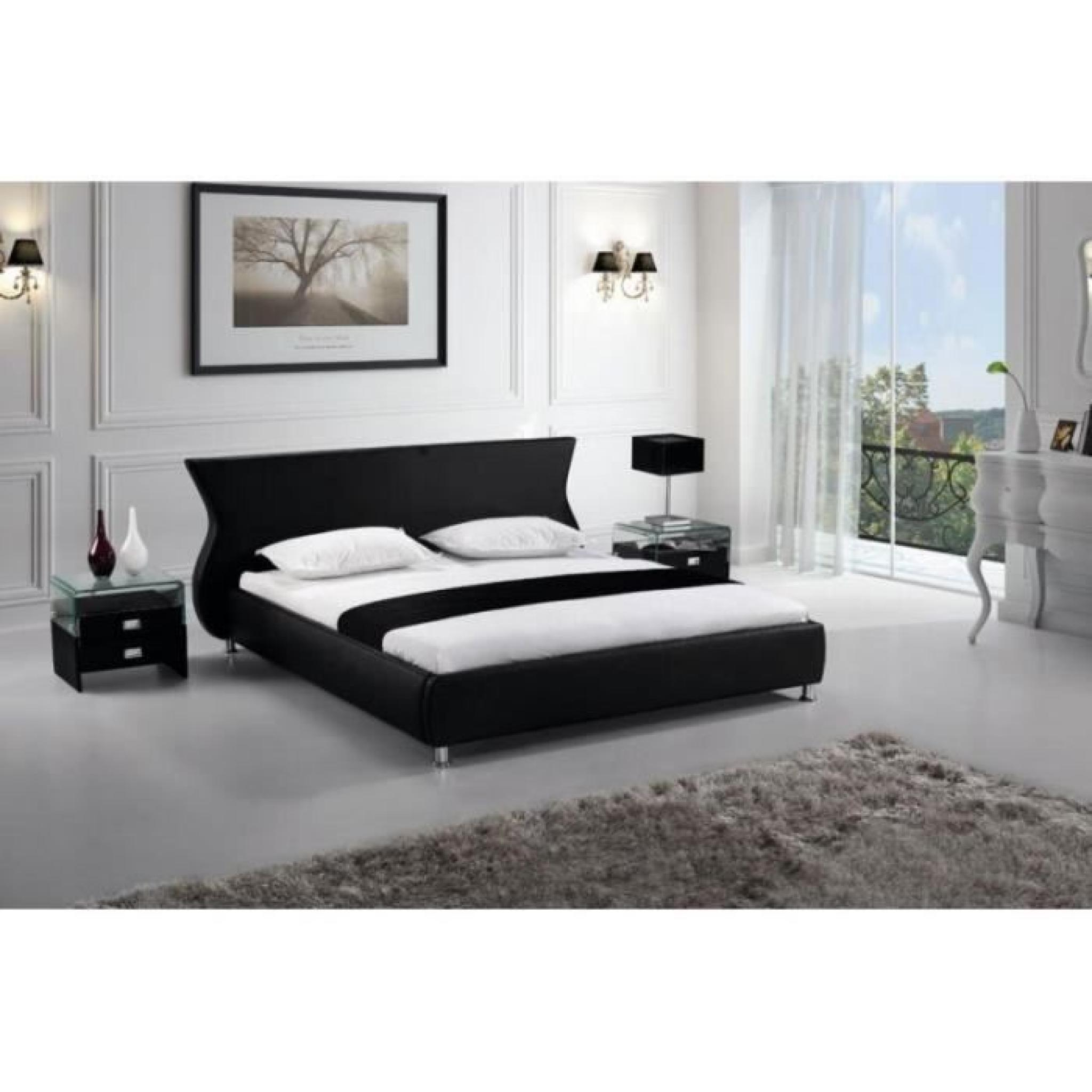 justhome giacomo noir lit rembourr en cuir cologique taille 140 x 200 cm achat vente lit. Black Bedroom Furniture Sets. Home Design Ideas