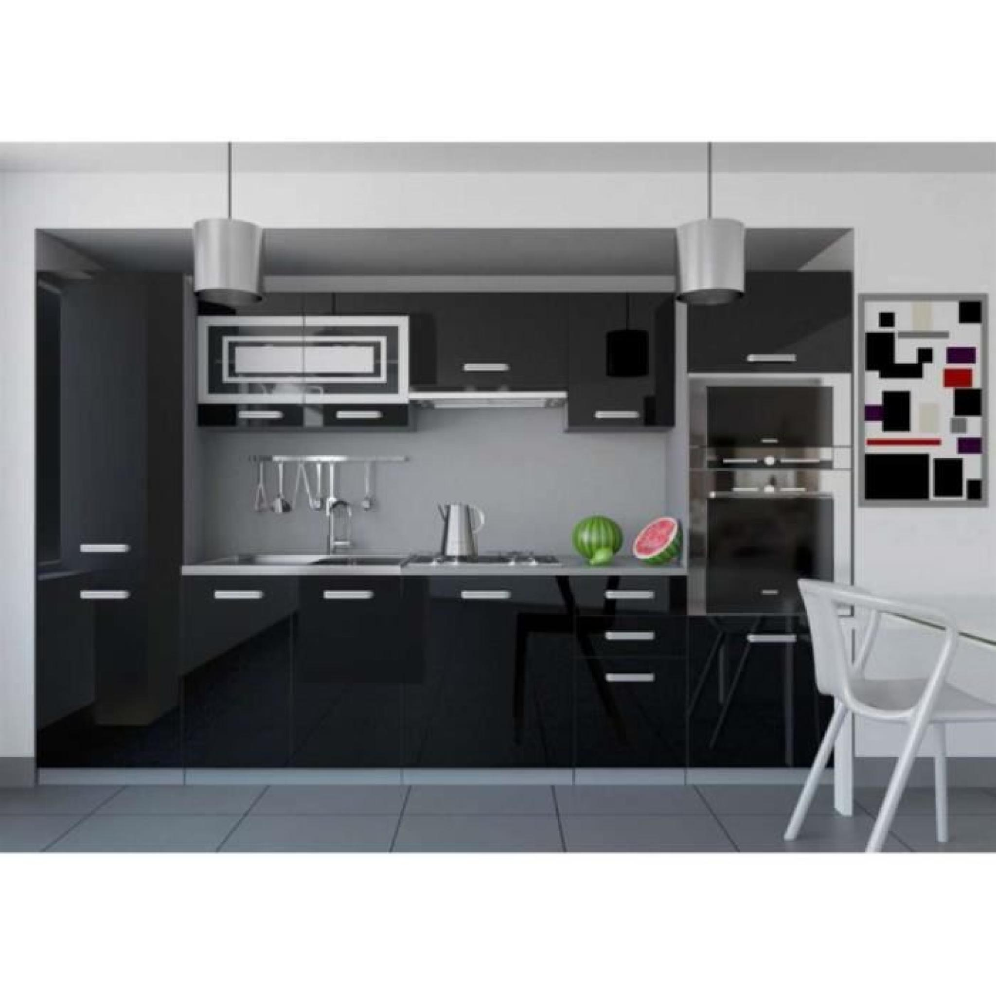 justhome infinity cuisine quip e compl te 300 cm couleur noir blanc laqu haute brillance. Black Bedroom Furniture Sets. Home Design Ideas
