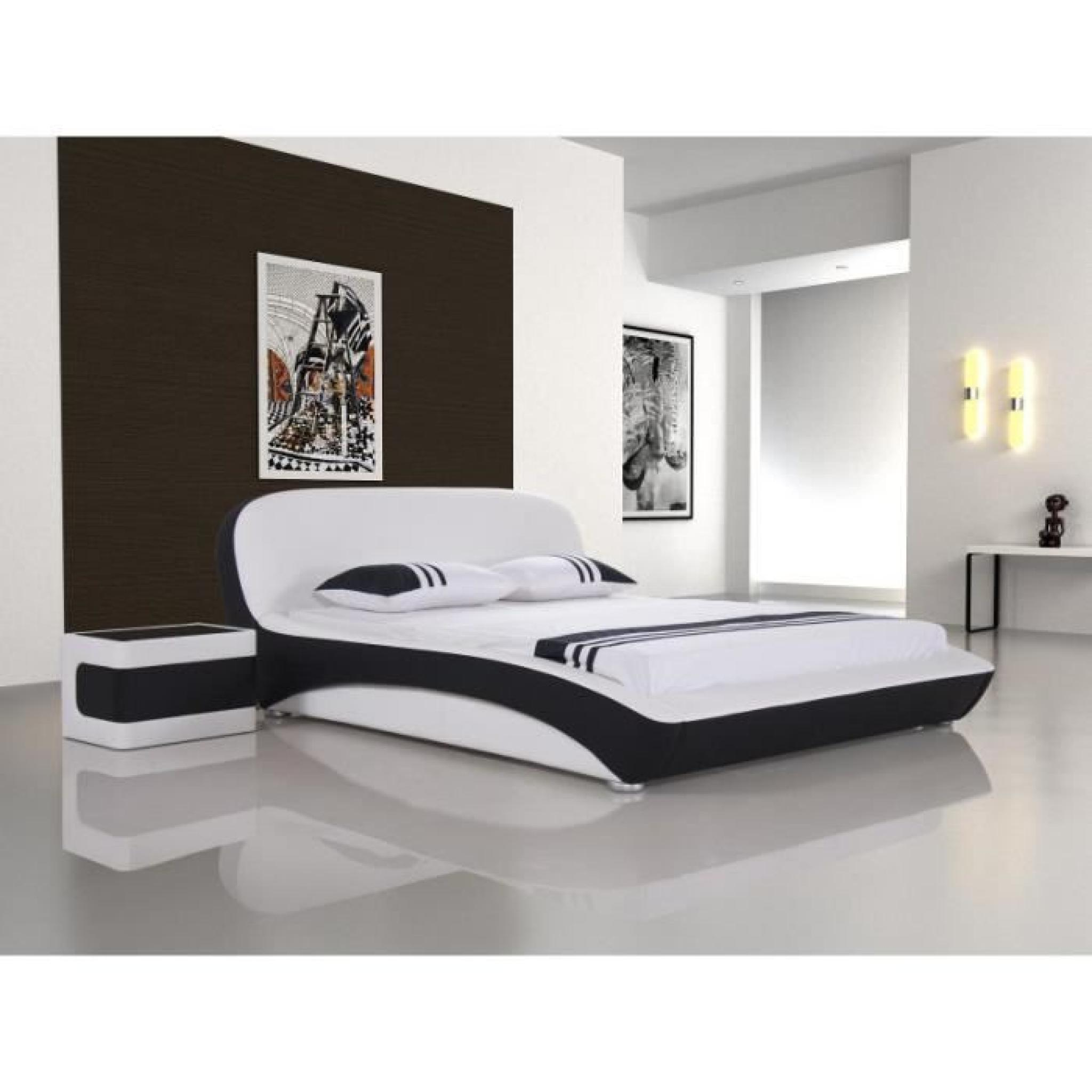 justhome lara 1 blanc lit rembourr en cuir cologique taille 180 x 200 cm achat vente lit. Black Bedroom Furniture Sets. Home Design Ideas