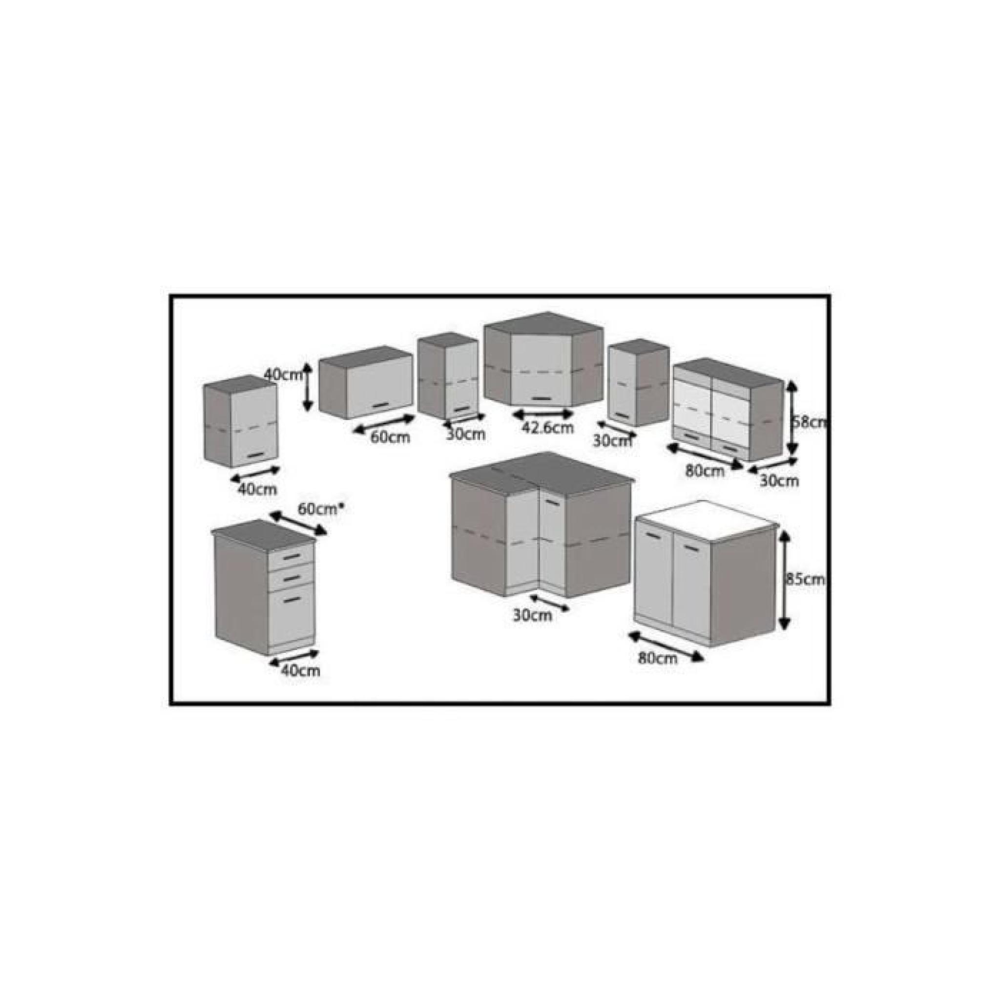 Justhome lidja l cuisine quip e compl te 190x170 cm for Cuisine complete blanc laque
