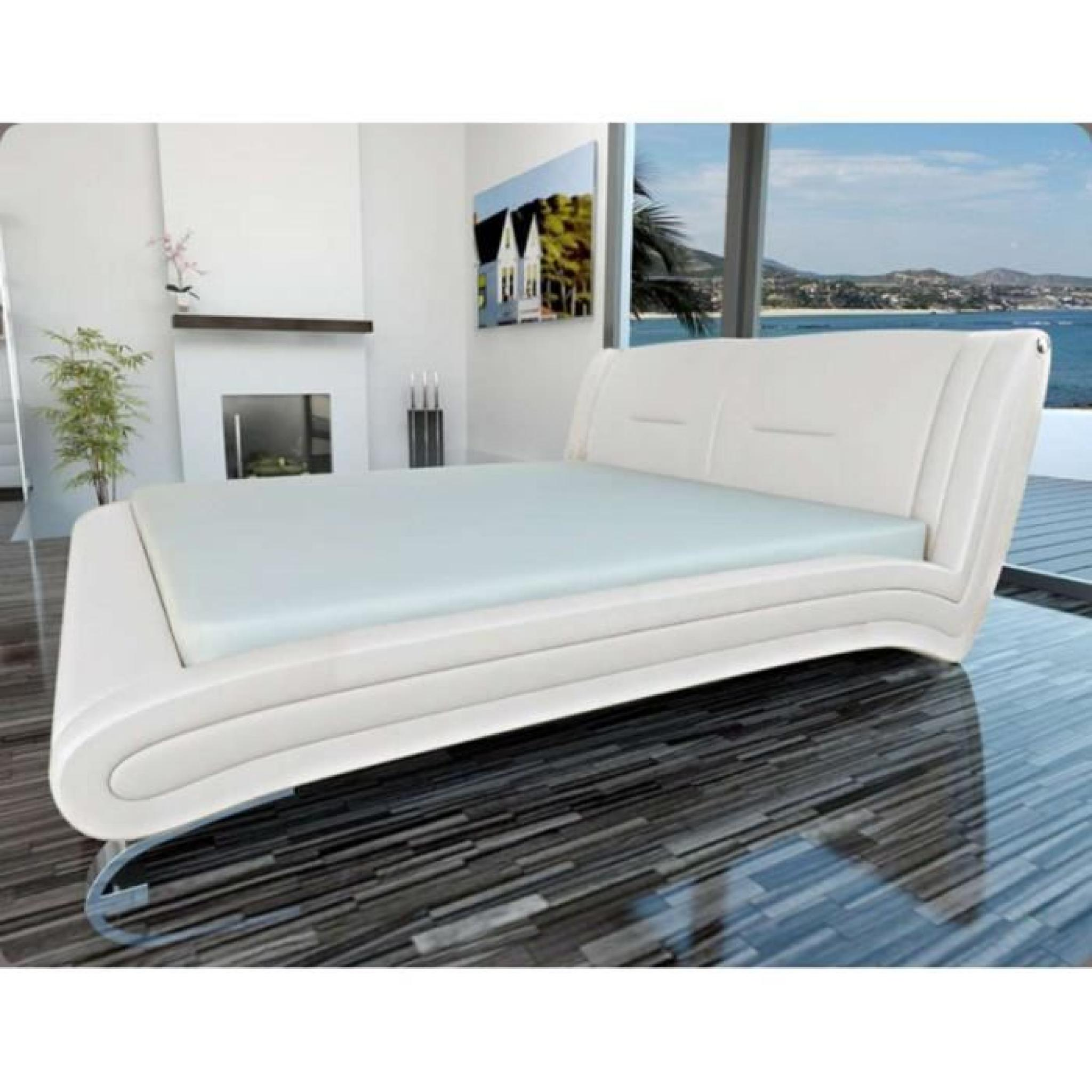 justhome masimo blanc lit rembourr en cuir cologique taille 200 x 200 cm achat vente lit. Black Bedroom Furniture Sets. Home Design Ideas