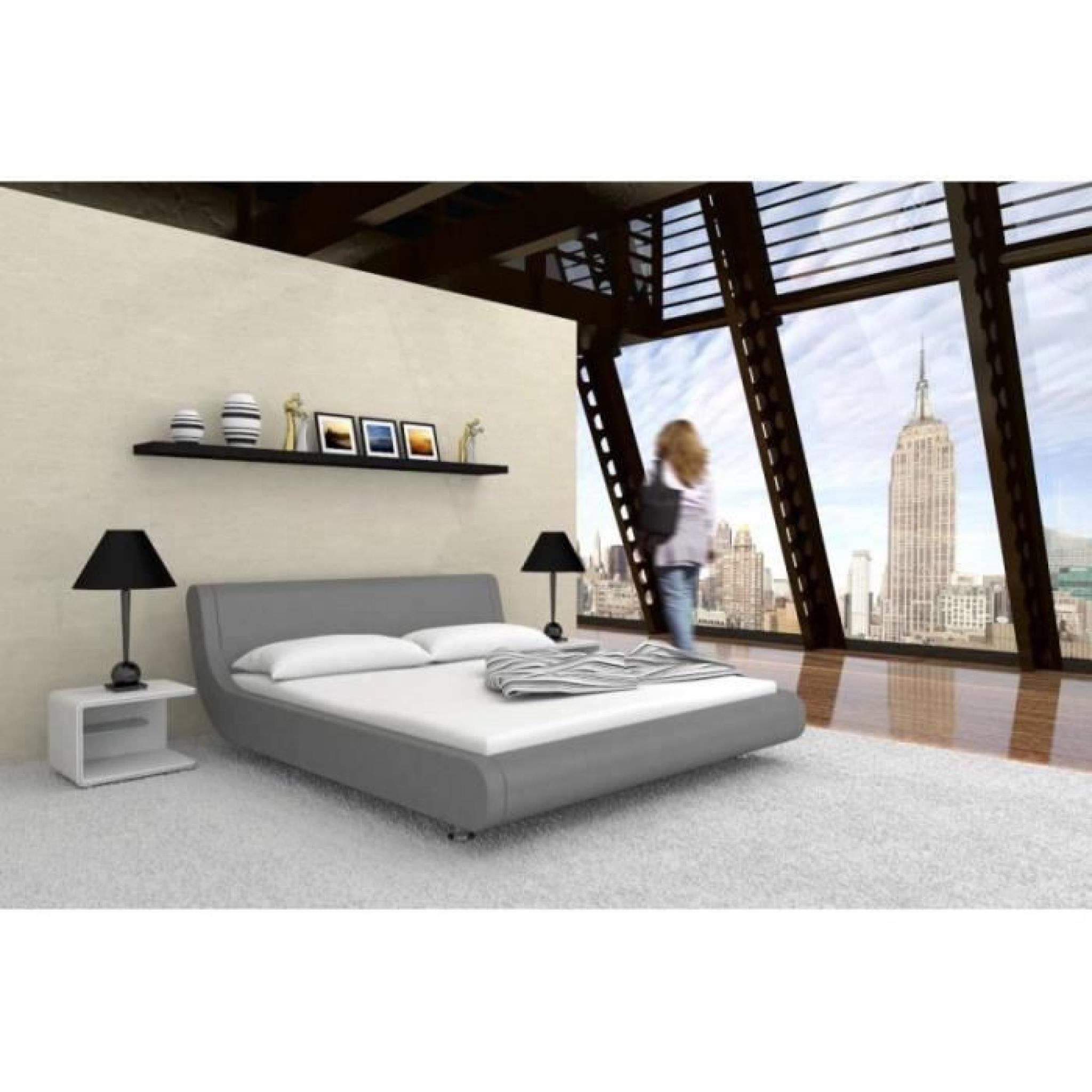 justhome mondo gris lit rembourr en cuir cologique taille 160 x 200 cm achat vente lit pas. Black Bedroom Furniture Sets. Home Design Ideas