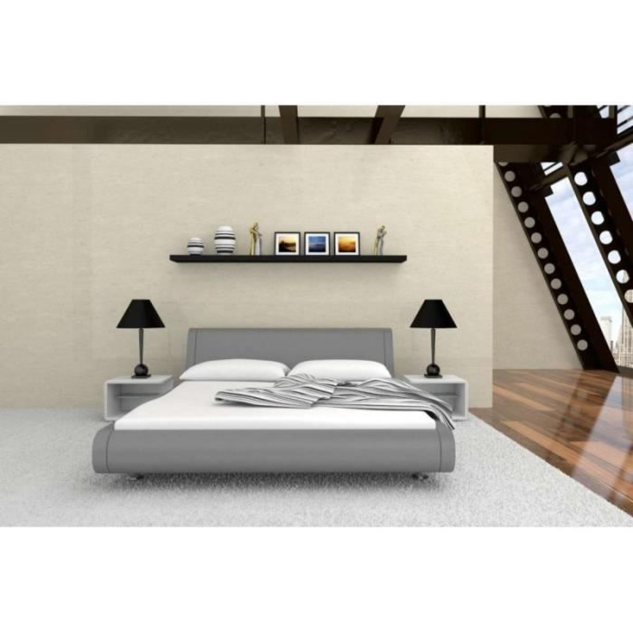justhome mondo gris lit rembourr en cuir cologique taille 140 x 200 cm achat vente lit pas. Black Bedroom Furniture Sets. Home Design Ideas