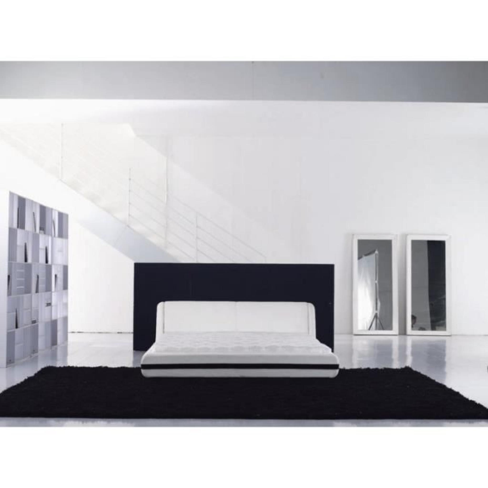 justhome rebound blanc lit rembourr en cuir cologique 160 x 200 cm achat vente lit pas cher. Black Bedroom Furniture Sets. Home Design Ideas