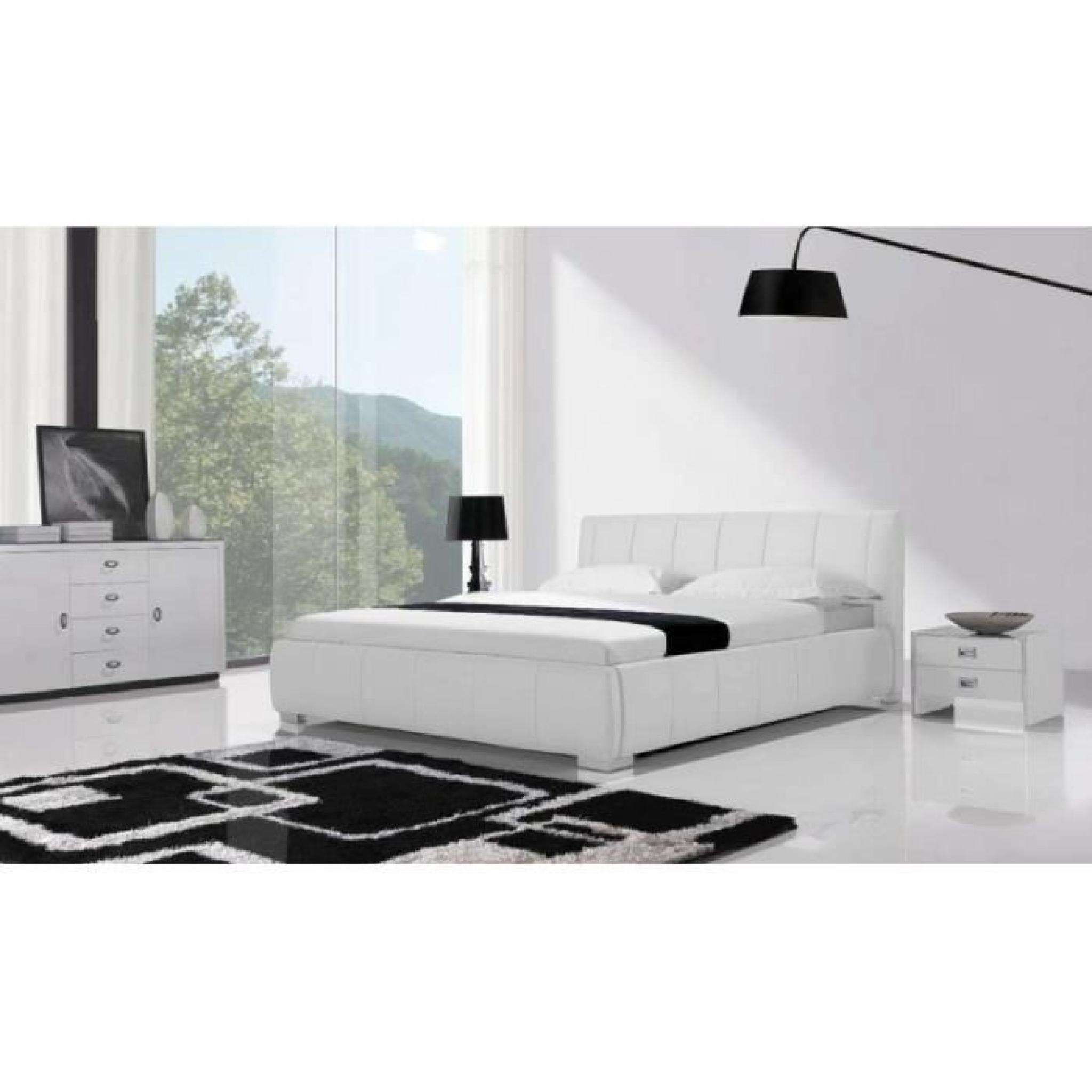 justhome rialto blanc lit rembourr en cuir cologique. Black Bedroom Furniture Sets. Home Design Ideas