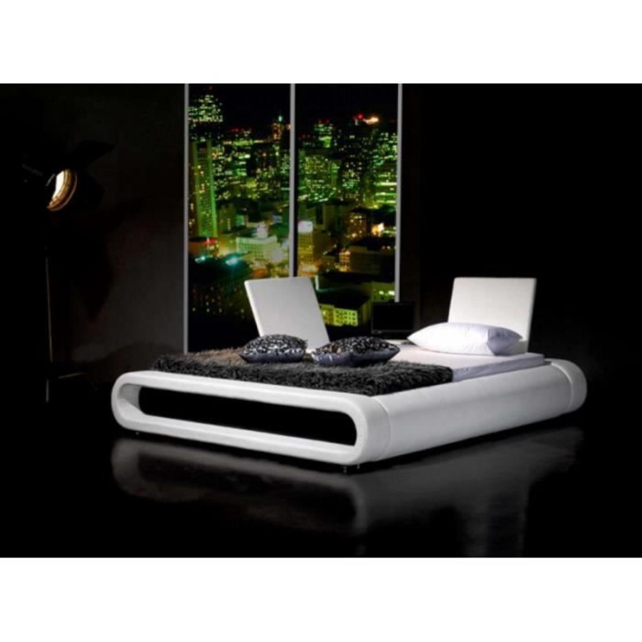 Justhome rondo blanc lit rembourr en cuir cologique taille 160 x 200 cm achat vente lit - Lit en cuir blanc pas cher ...