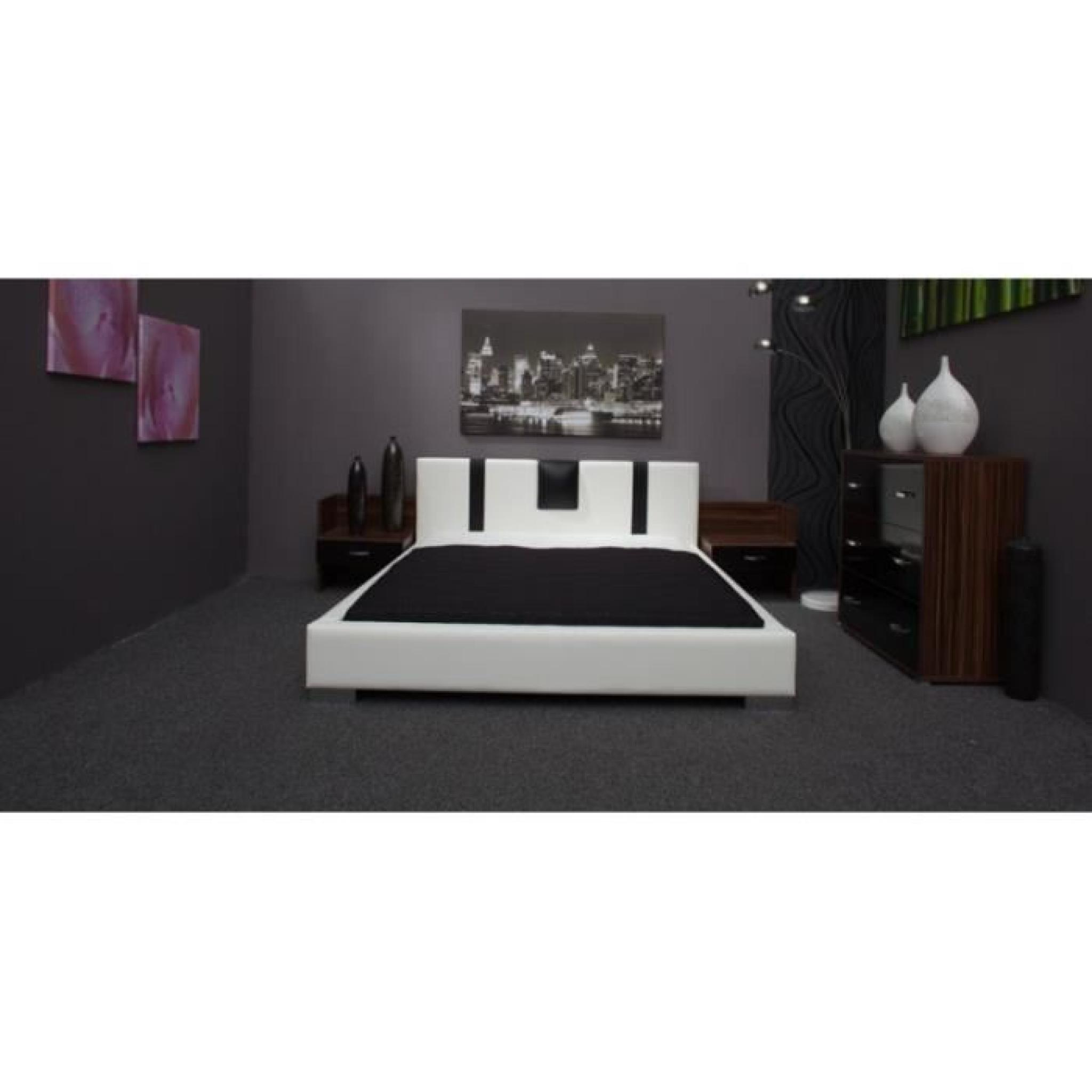 justhome sandor lit en cuir cologique blanc noir 140 x 200cm achat vente lit pas cher. Black Bedroom Furniture Sets. Home Design Ideas