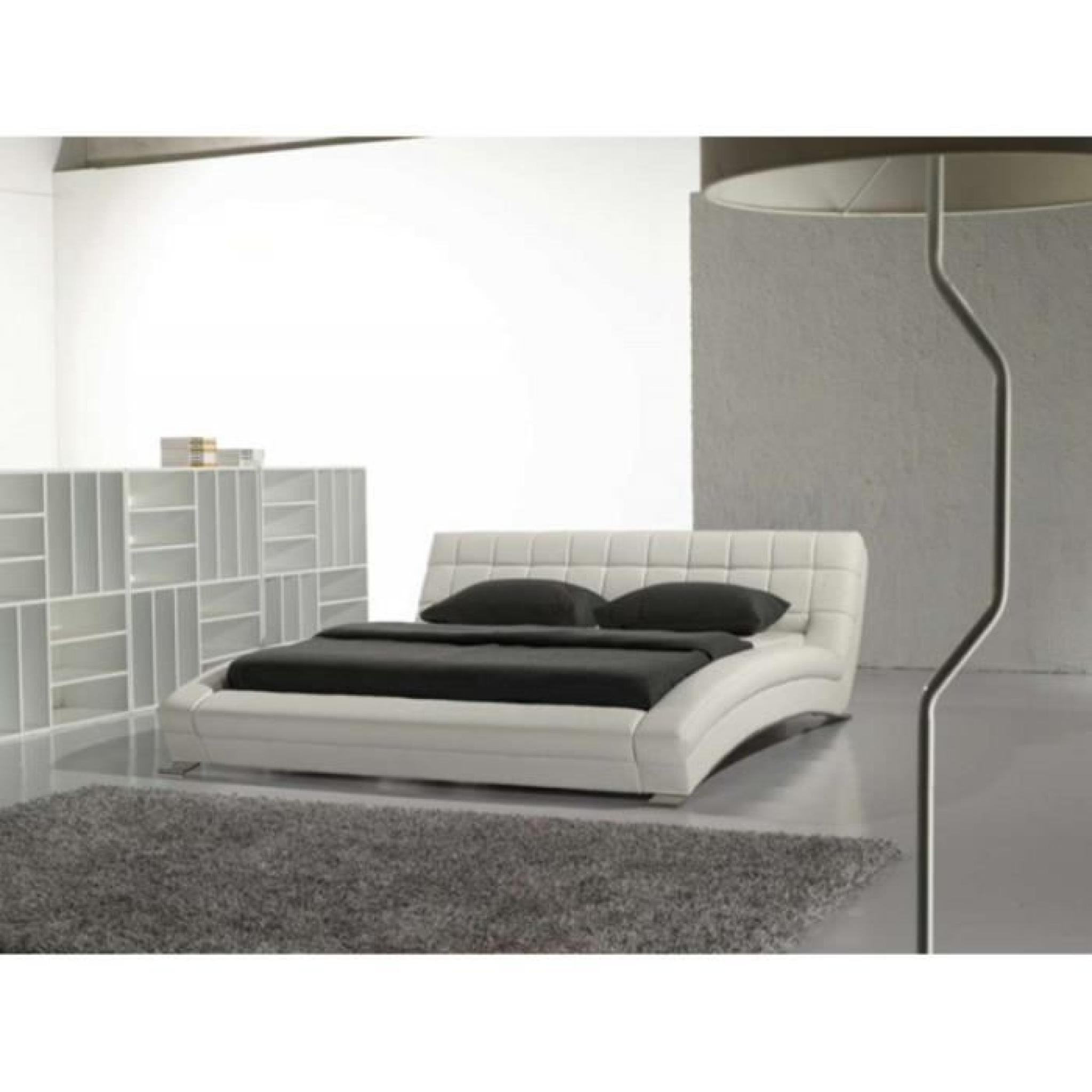 justhome soho blanc lit rembourr en cuir cologique taille 140 x 200 cm achat vente lit pas. Black Bedroom Furniture Sets. Home Design Ideas