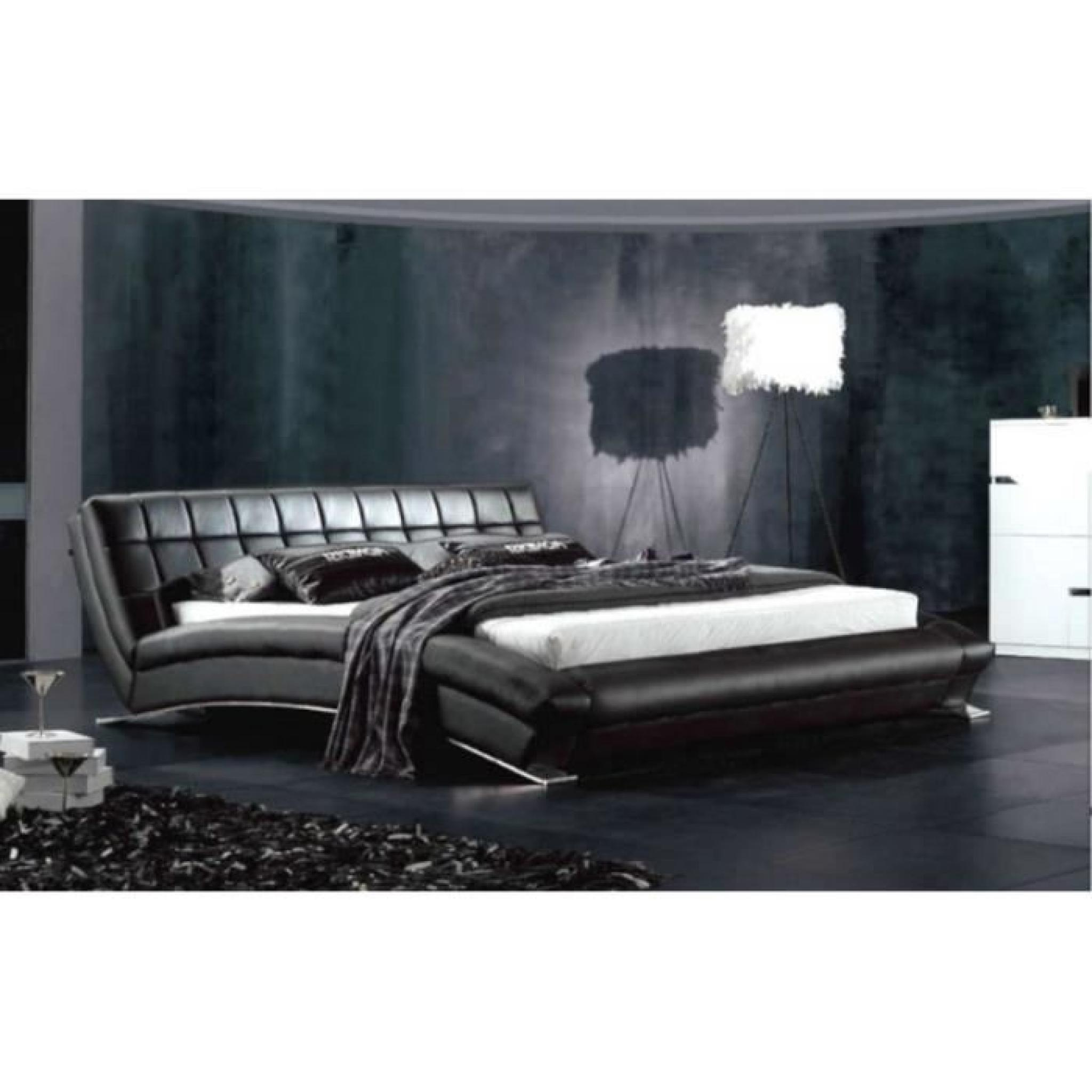 justhome soho noir lit rembourr en cuir cologique taille 180 x 200 cm achat vente lit pas. Black Bedroom Furniture Sets. Home Design Ideas