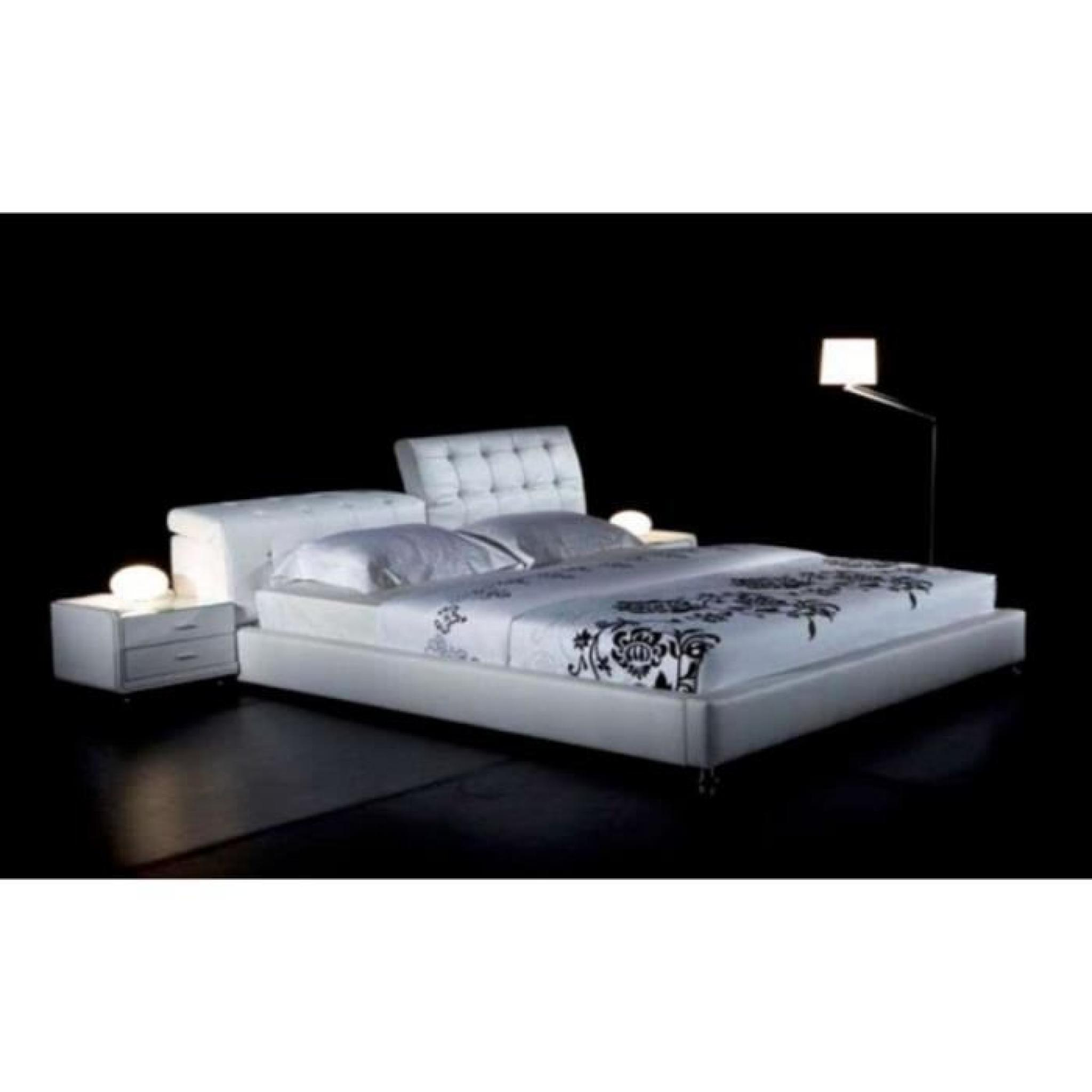 justhome theatro blanc lit rembourr en cuir cologique 140 x 200 cm achat vente lit pas cher. Black Bedroom Furniture Sets. Home Design Ideas