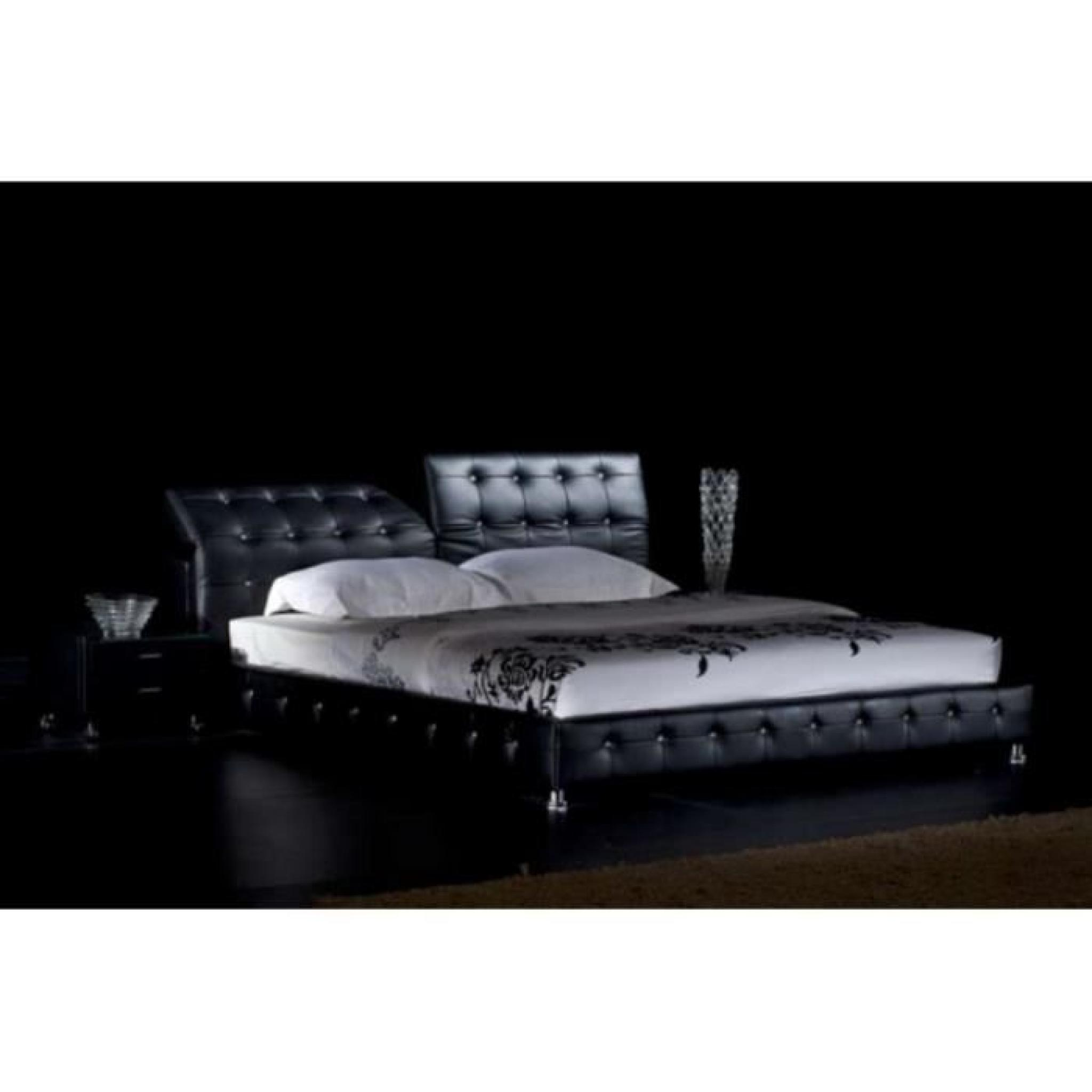 justhome theatro noir lit rembourr en cuir cologique taille 200 x 200 cm achat vente lit. Black Bedroom Furniture Sets. Home Design Ideas