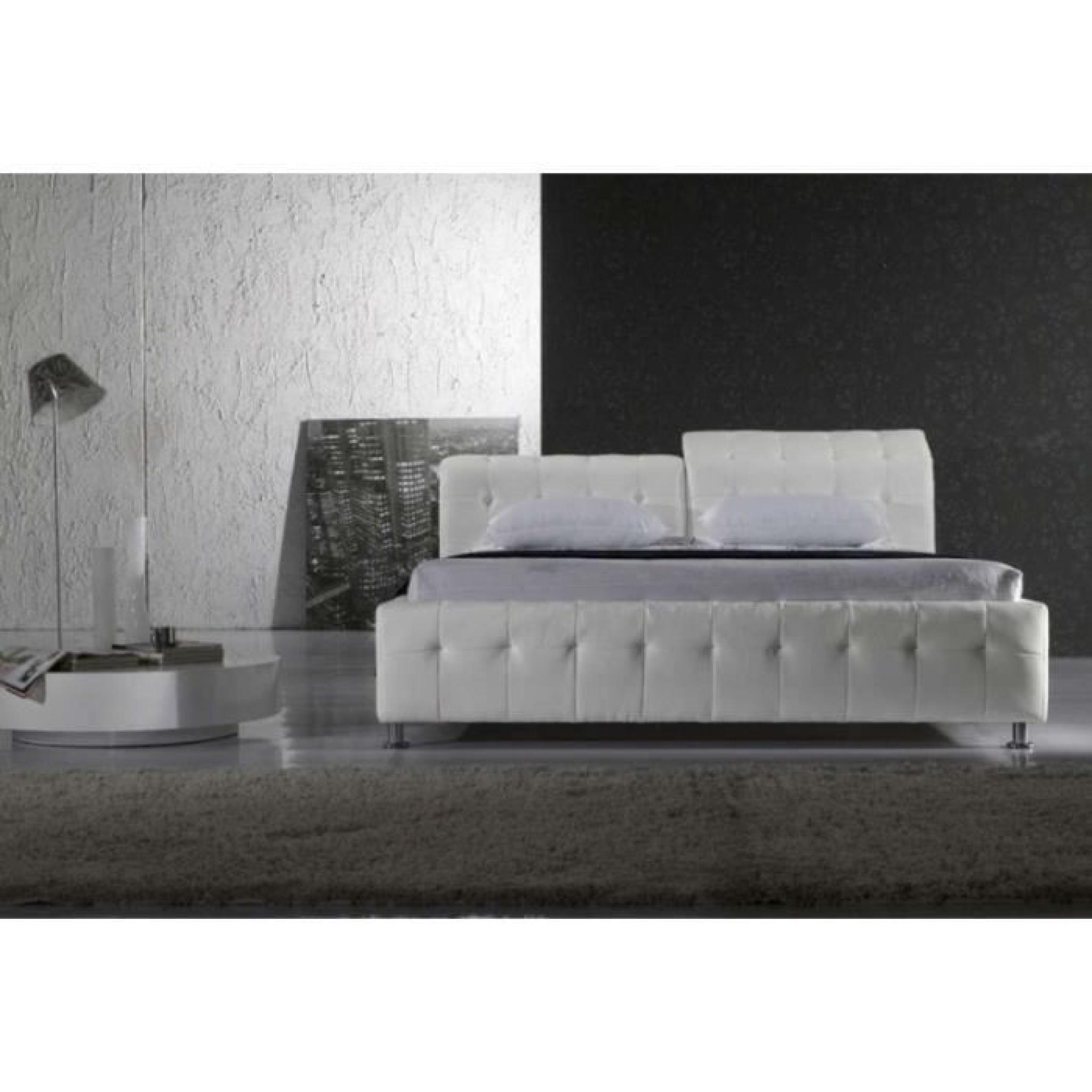 Justhome theatro plus blanc lit rembourr en cuir cologique taille 200 x 200 cm achat vente - Lit en cuir blanc pas cher ...