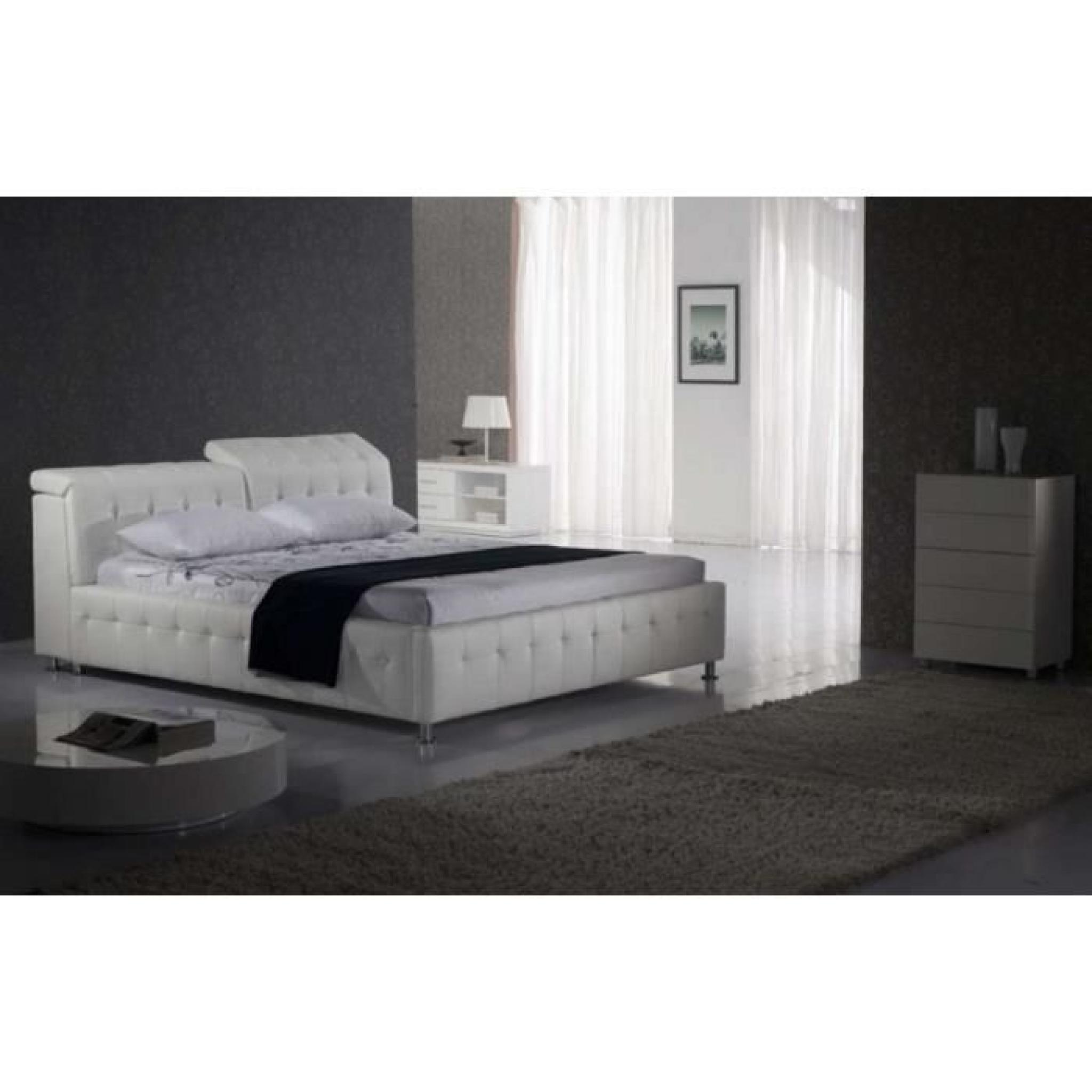 justhome theatro plus blanc lit rembourr en cuir cologique taille 140 x 200 cm achat vente. Black Bedroom Furniture Sets. Home Design Ideas