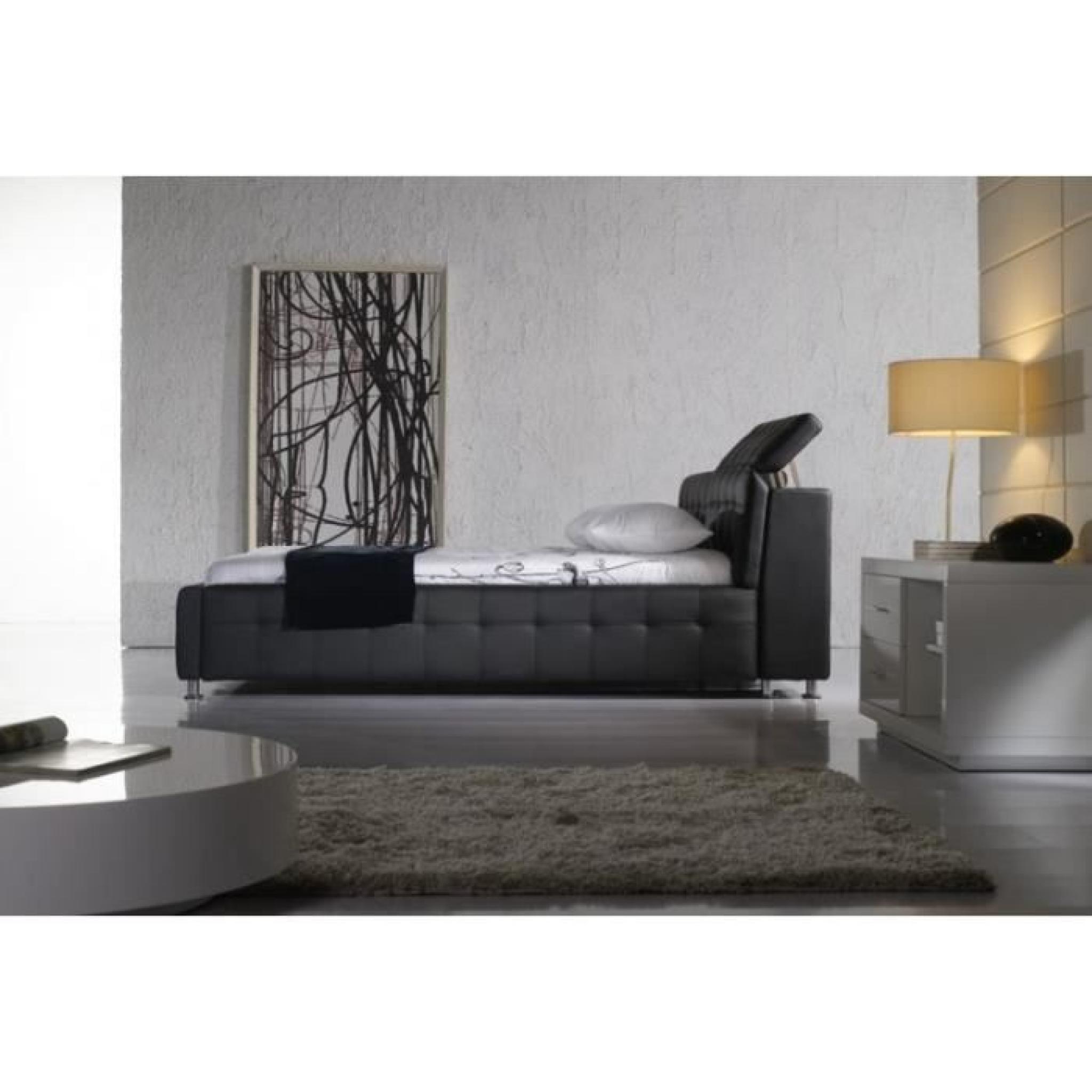 justhome theatro plus noir lit rembourr en cuir cologiquer taille 160 x 200 cm achat vente. Black Bedroom Furniture Sets. Home Design Ideas