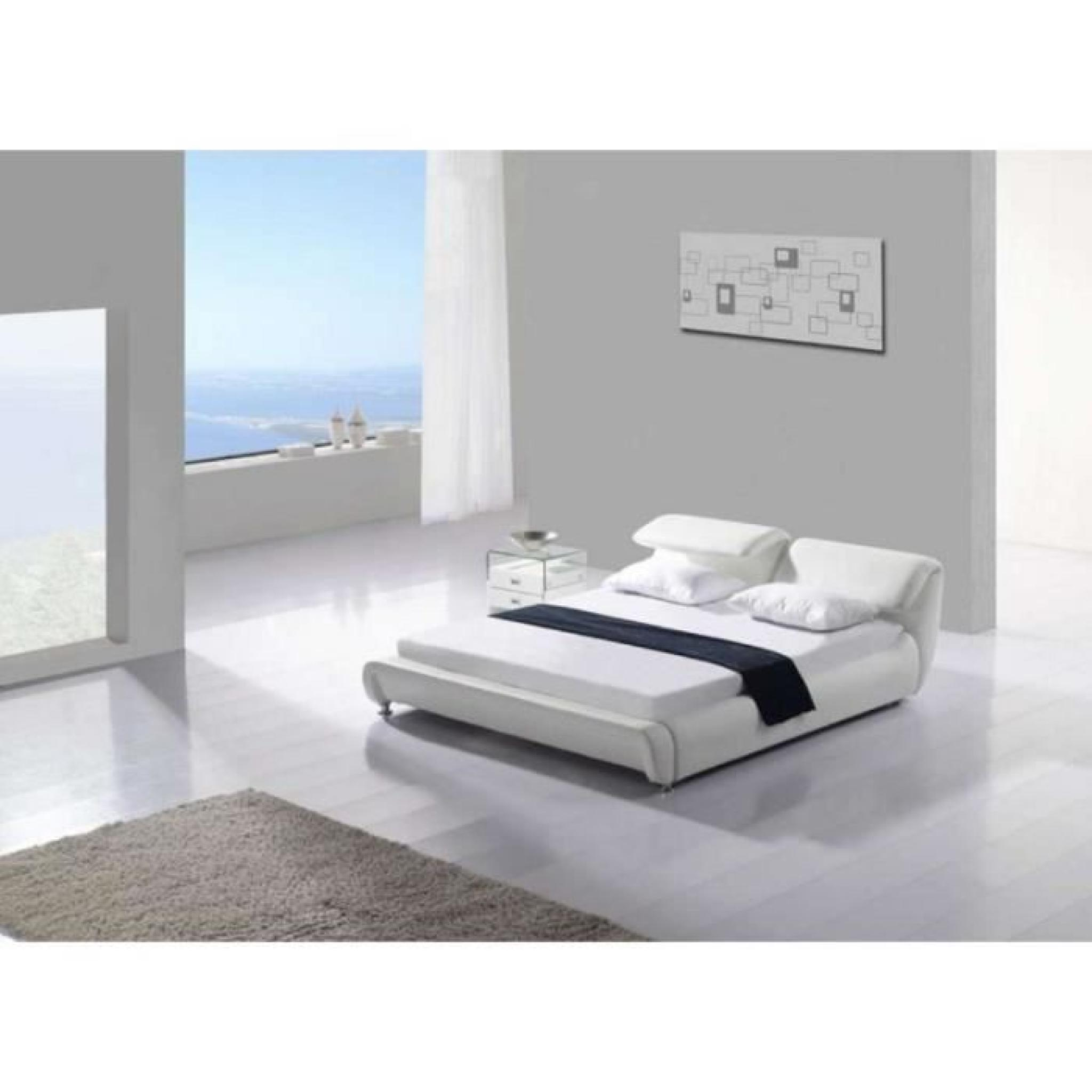 justhome tivoli blanc lit rembourr en cuir cologique taille 160 x 200 cm achat vente lit. Black Bedroom Furniture Sets. Home Design Ideas