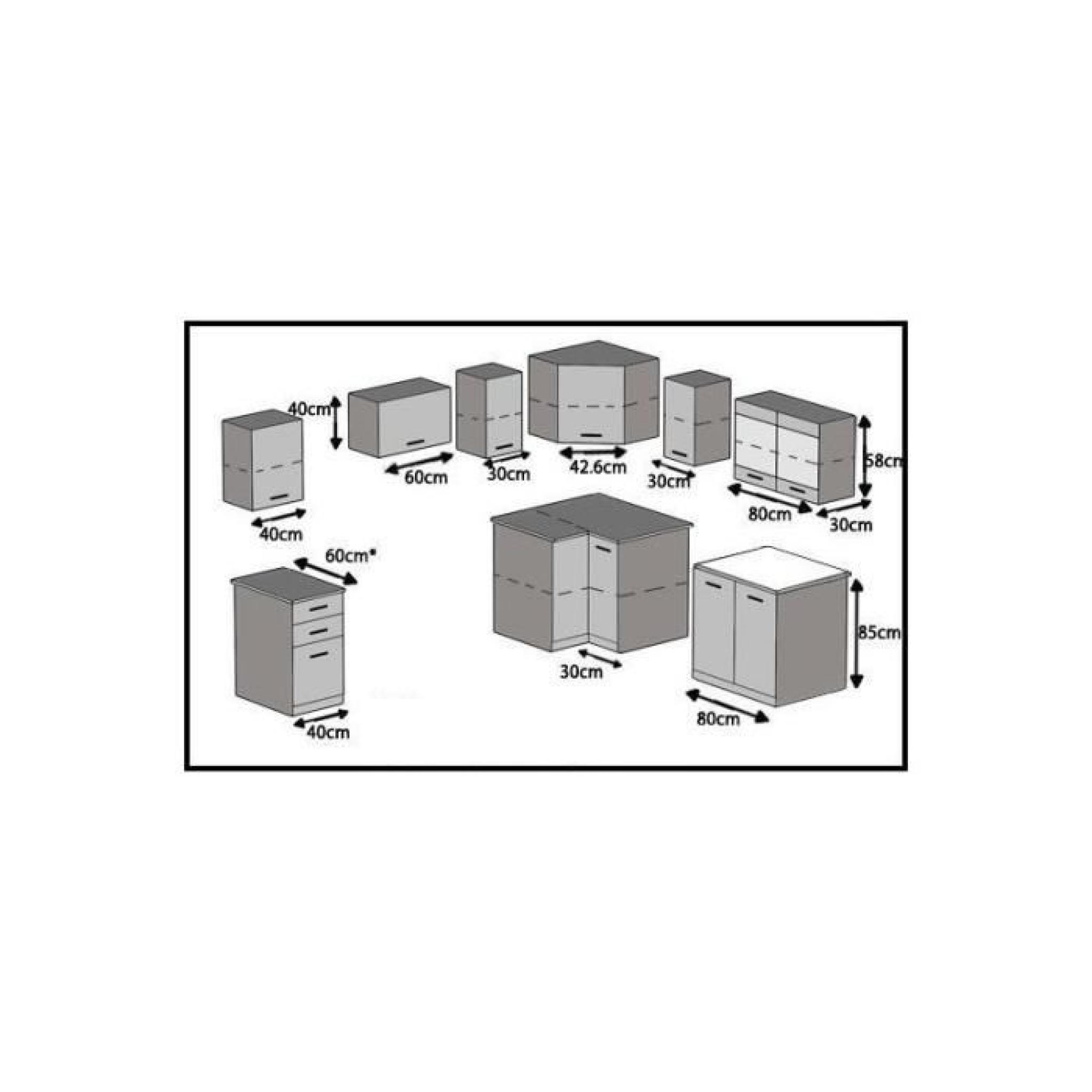 Justhome torino 4 l cuisine quip e compl te 190x170 cm for Cuisine complete design