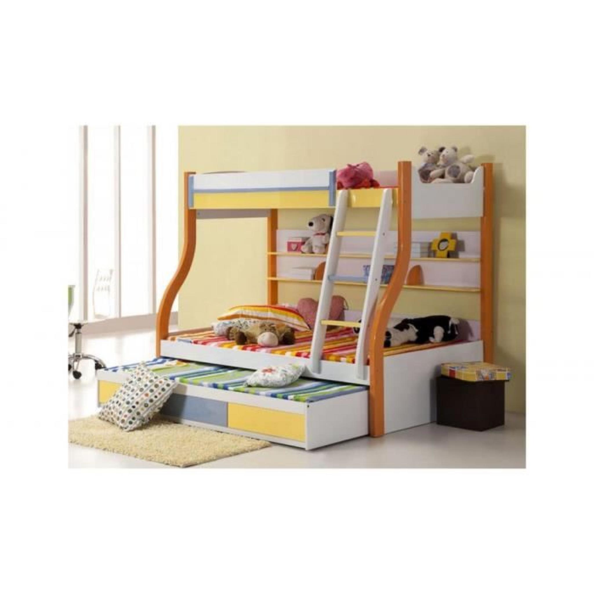 justhome trio lit superpos multicolore achat vente lit superpose pas cher couleur et. Black Bedroom Furniture Sets. Home Design Ideas