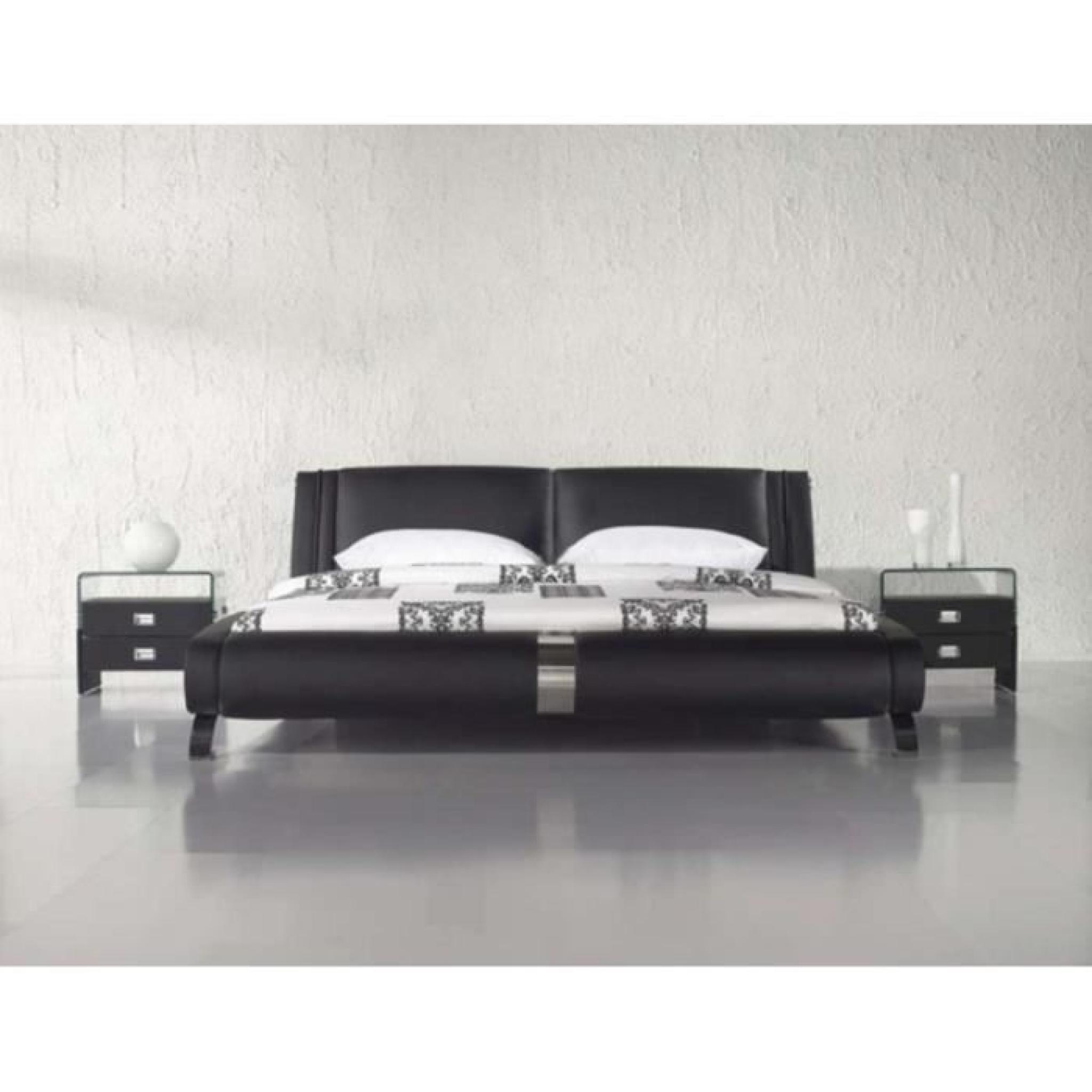 justhome ventura noir lit rembourr en cuir cologique taille 160 x 200 cm achat vente lit. Black Bedroom Furniture Sets. Home Design Ideas