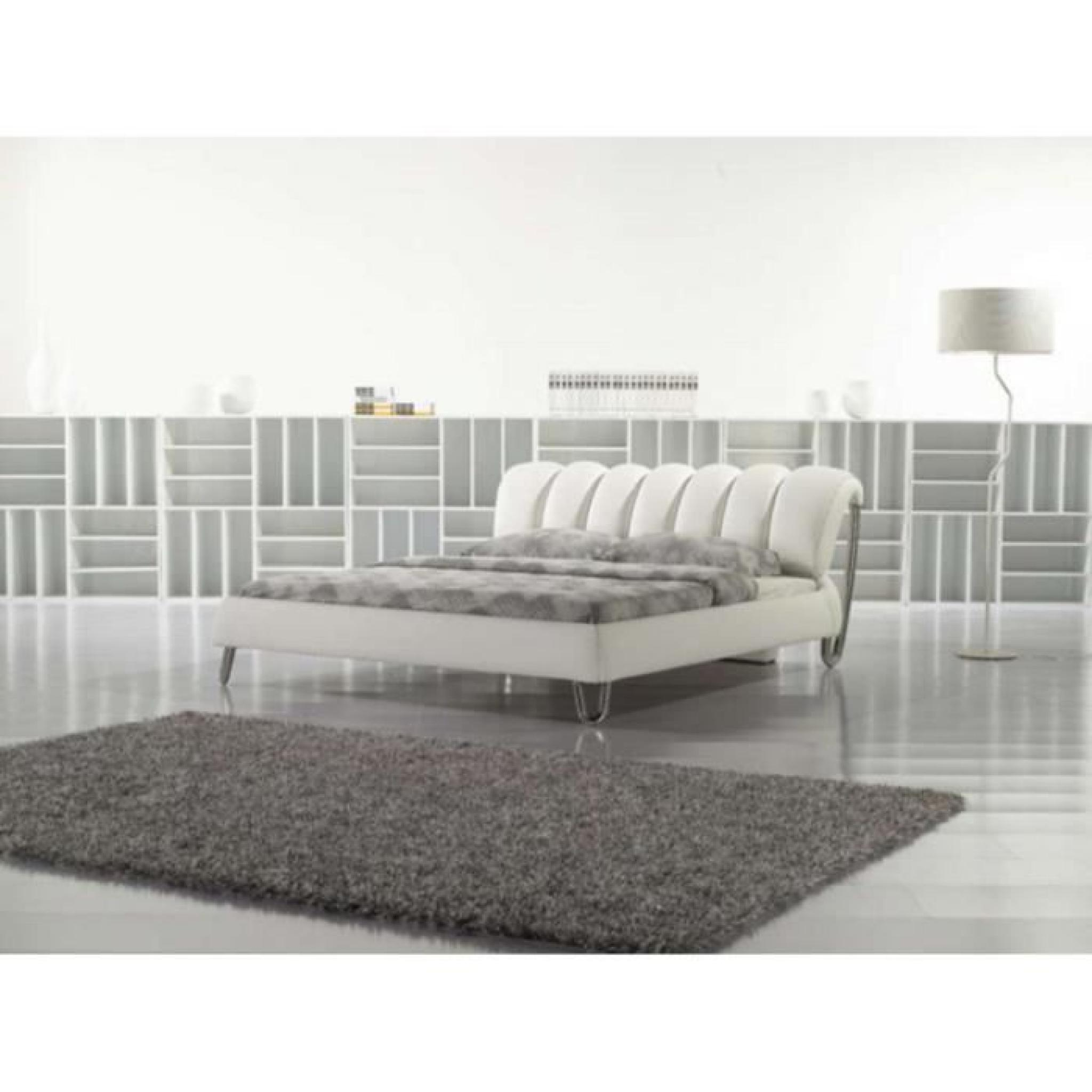 justhome wave blanc lit rembourr en cuir cologique taille 140 x 200 cm achat vente lit pas. Black Bedroom Furniture Sets. Home Design Ideas