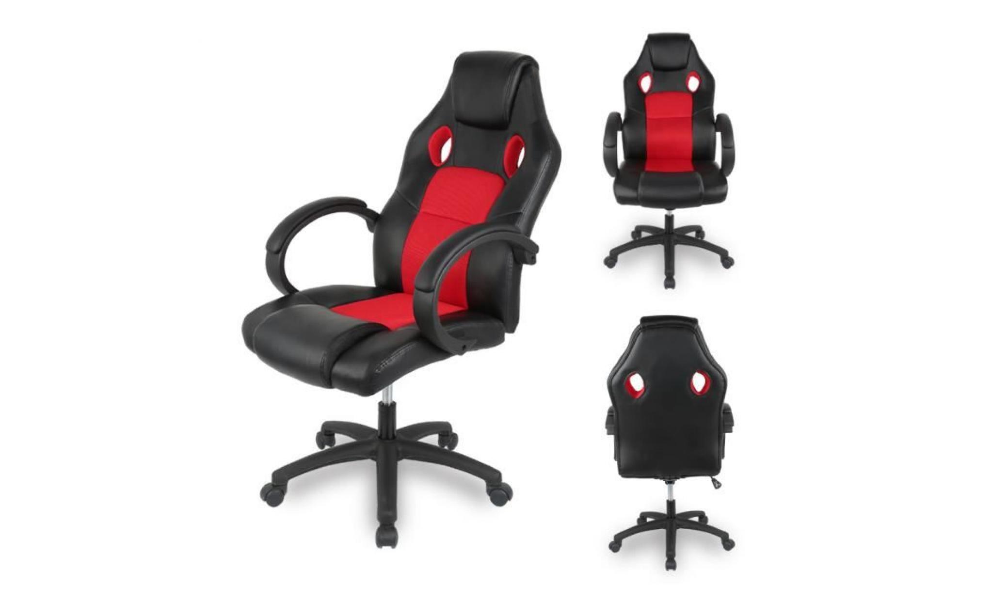 plus récent d1fb3 f2cc4 keisha chaise de bureau rouge et noir sport fauteuil de bureau roues racing  rembourrée