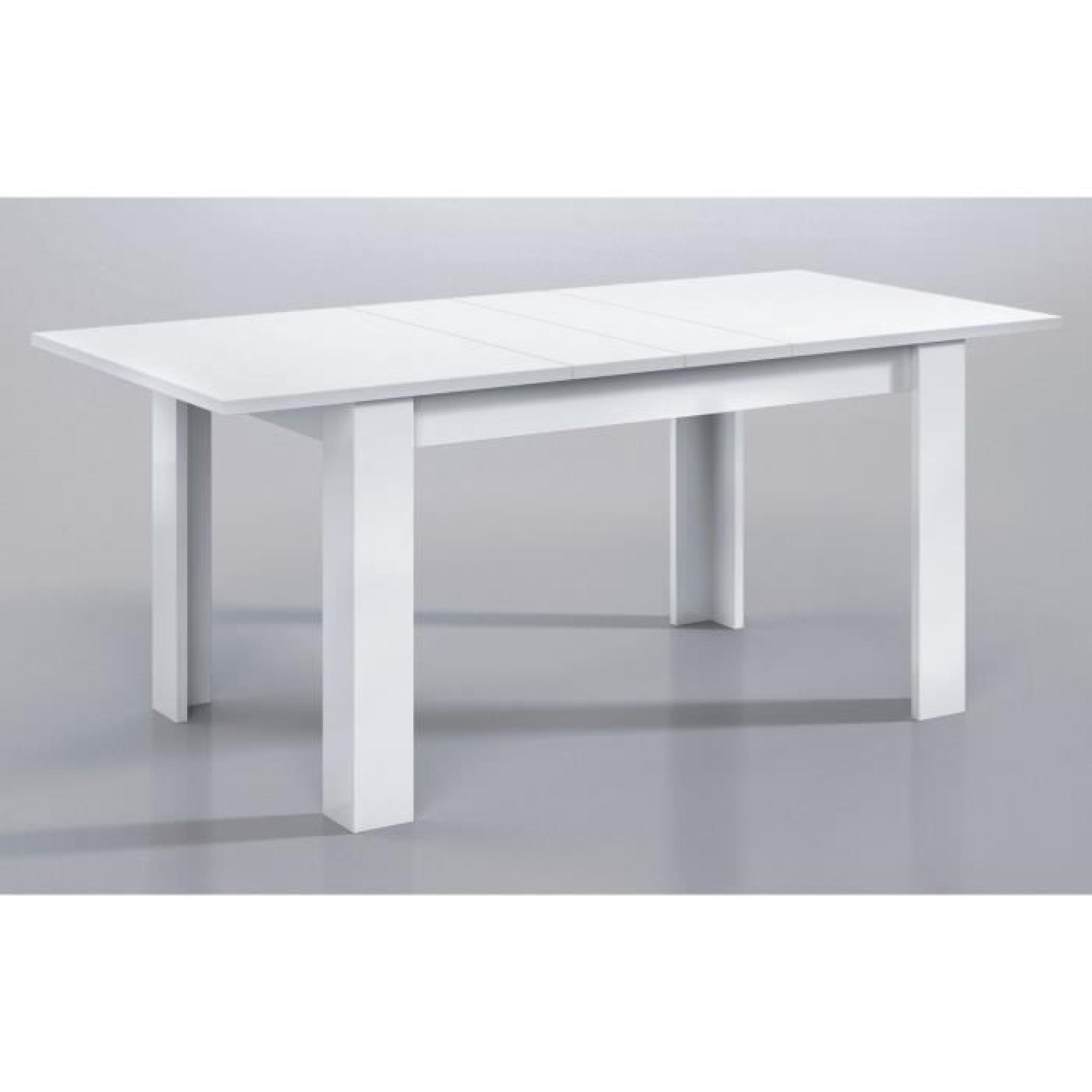 Kendra table extensible 140 190cm blanc brillant achat for Table salle manger pas cher