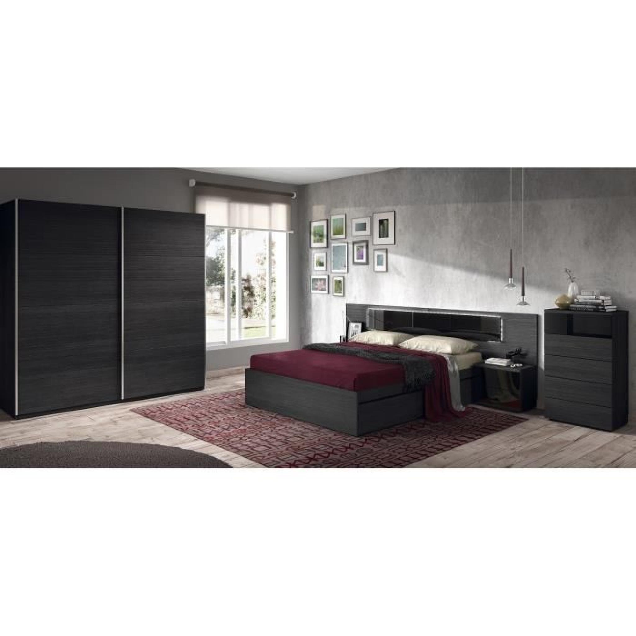 kiara t te de lit avec led 263 cm 2 chevets noir brillant et vein achat vente tete de lit. Black Bedroom Furniture Sets. Home Design Ideas