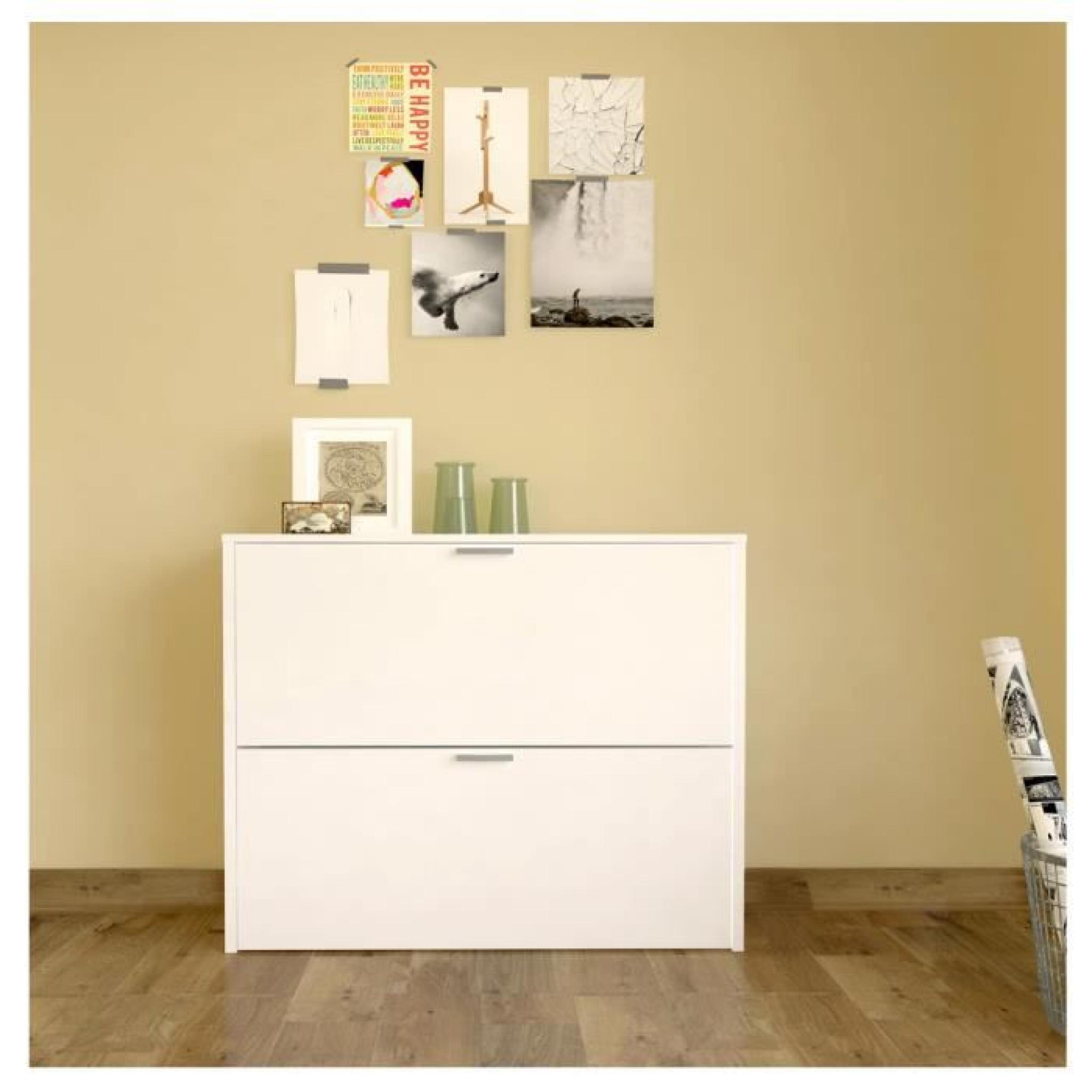 kim meuble chaussures 75 cm blanc achat vente meuble chaussure pas cher couleur et. Black Bedroom Furniture Sets. Home Design Ideas